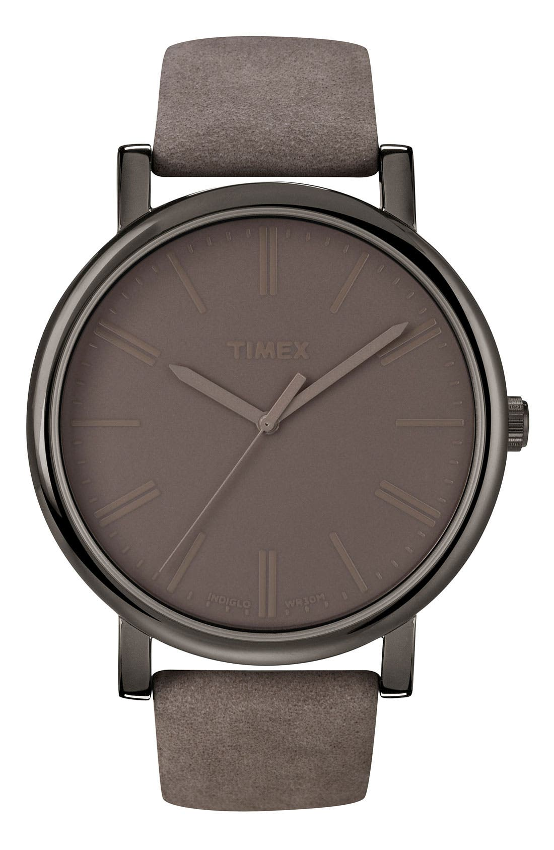 Timex® 'Easy Reader' Leather Strap Watch, 42mm