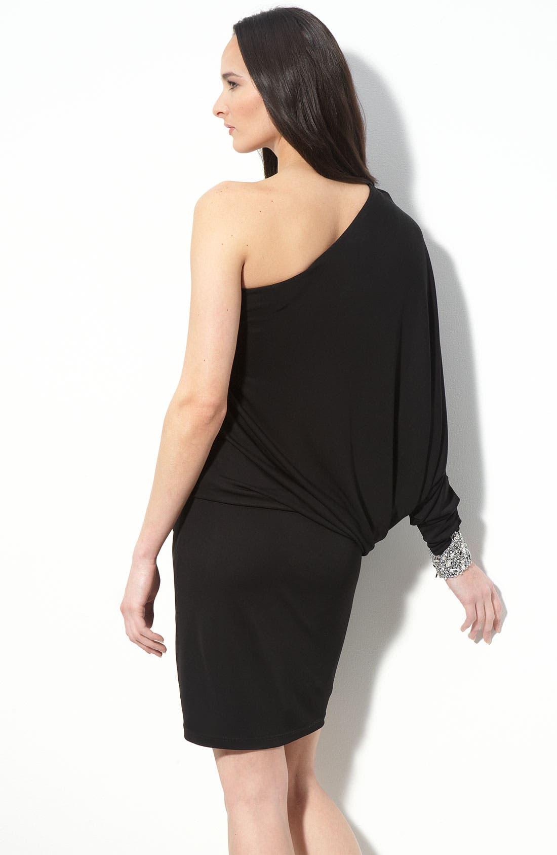 Alternate Image 2  - David Meister Dolman Sleeve One Shoulder Jersey Dress