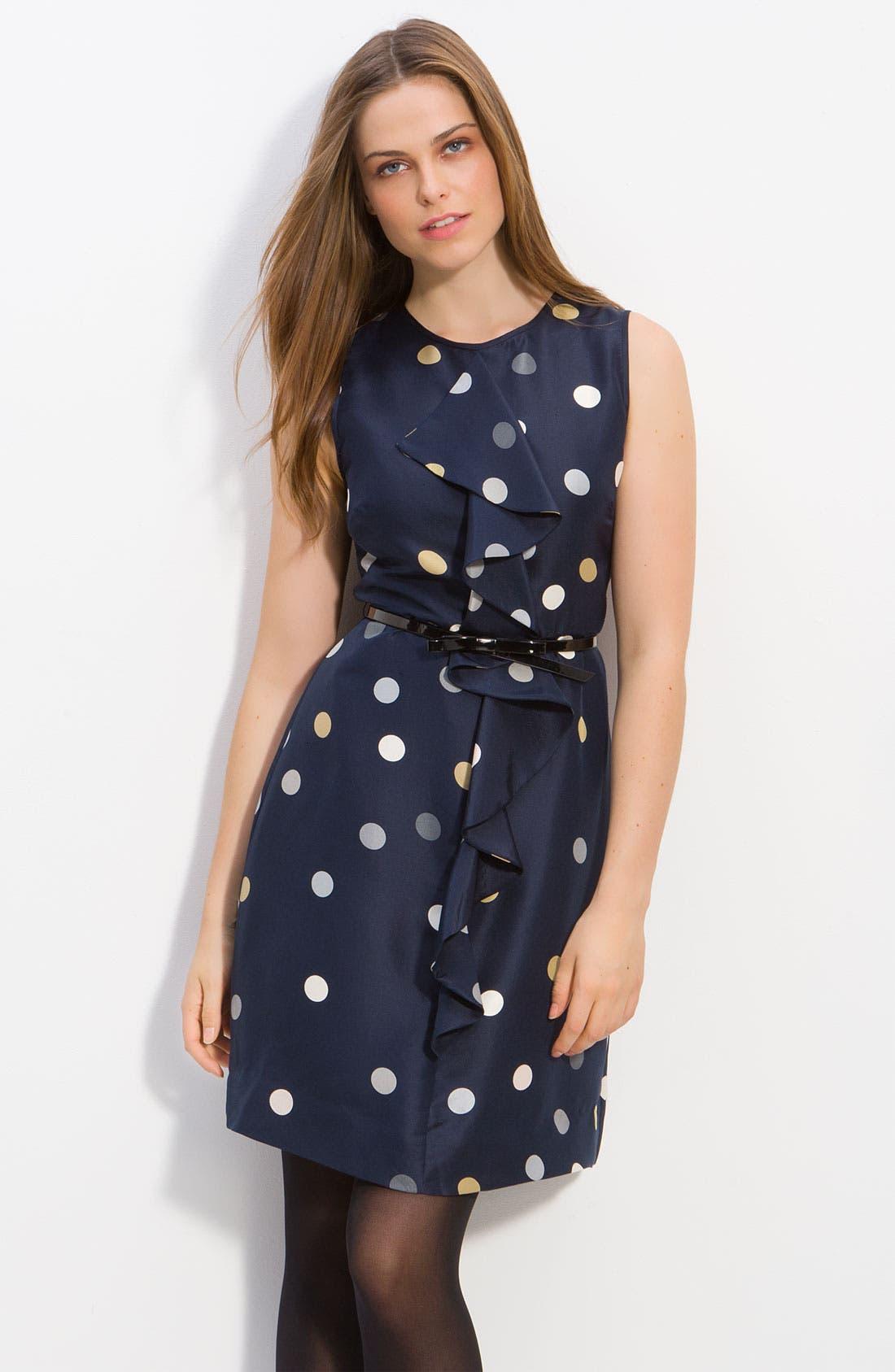 Main Image - kate spade new york 'bailey' polka dot ruffle dress