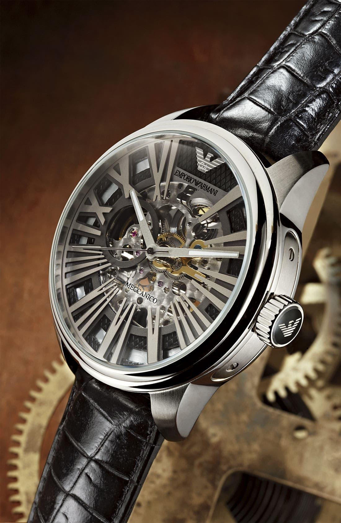 Alternate Image 2  - Emporio Armani Automatic Leather Strap Watch