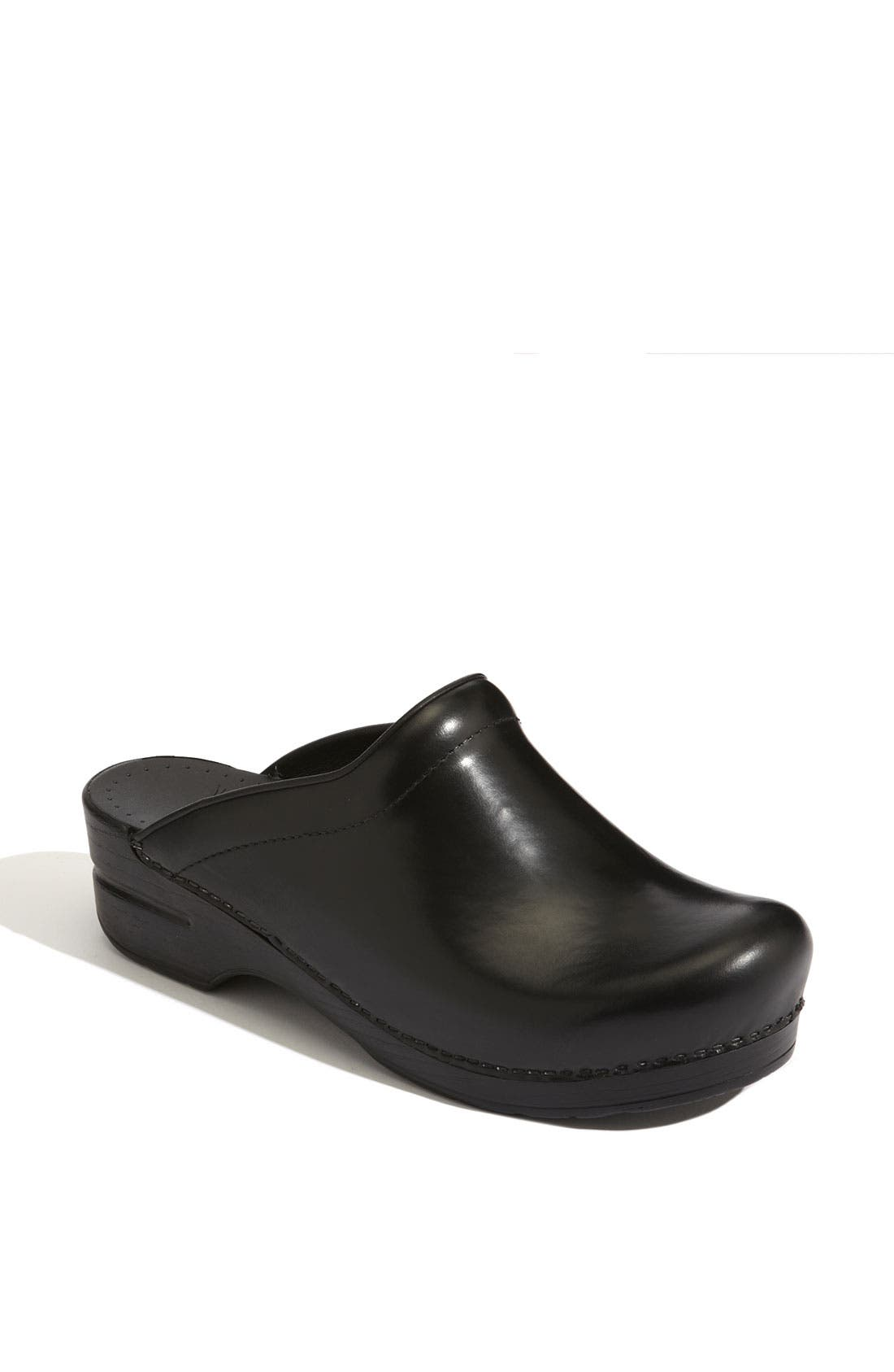 'Sonja' Leather Clog,                             Main thumbnail 1, color,                             Black Cabrio