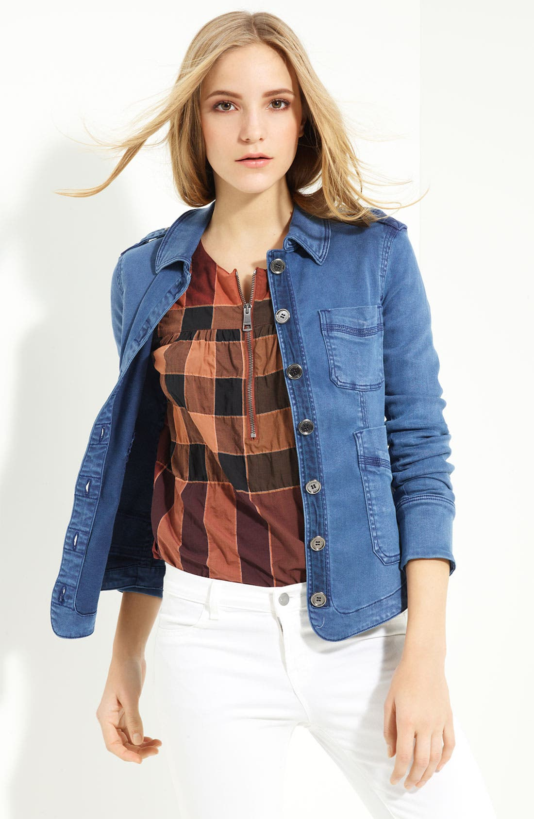 Denim Shirt Jacket,                             Alternate thumbnail 3, color,                             Vintage Lupine Blue