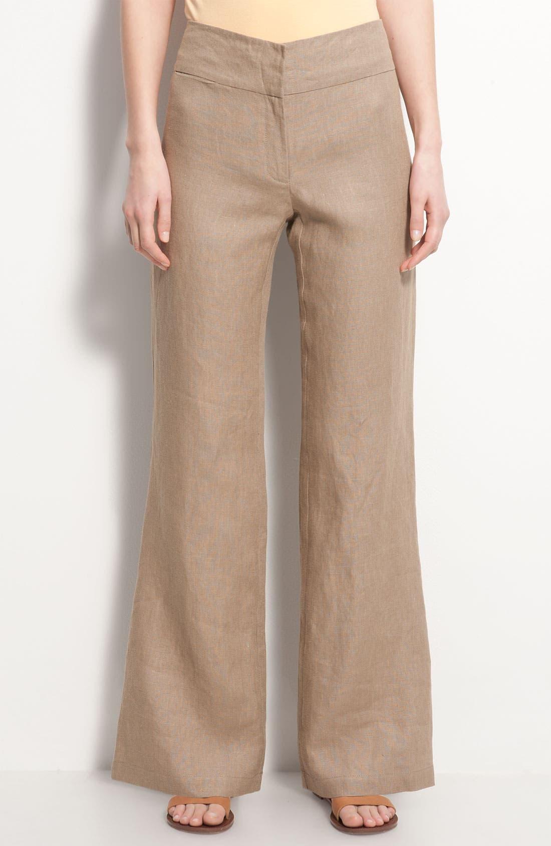 Alternate Image 1 Selected - Eileen Fisher Wide Leg Linen Trousers
