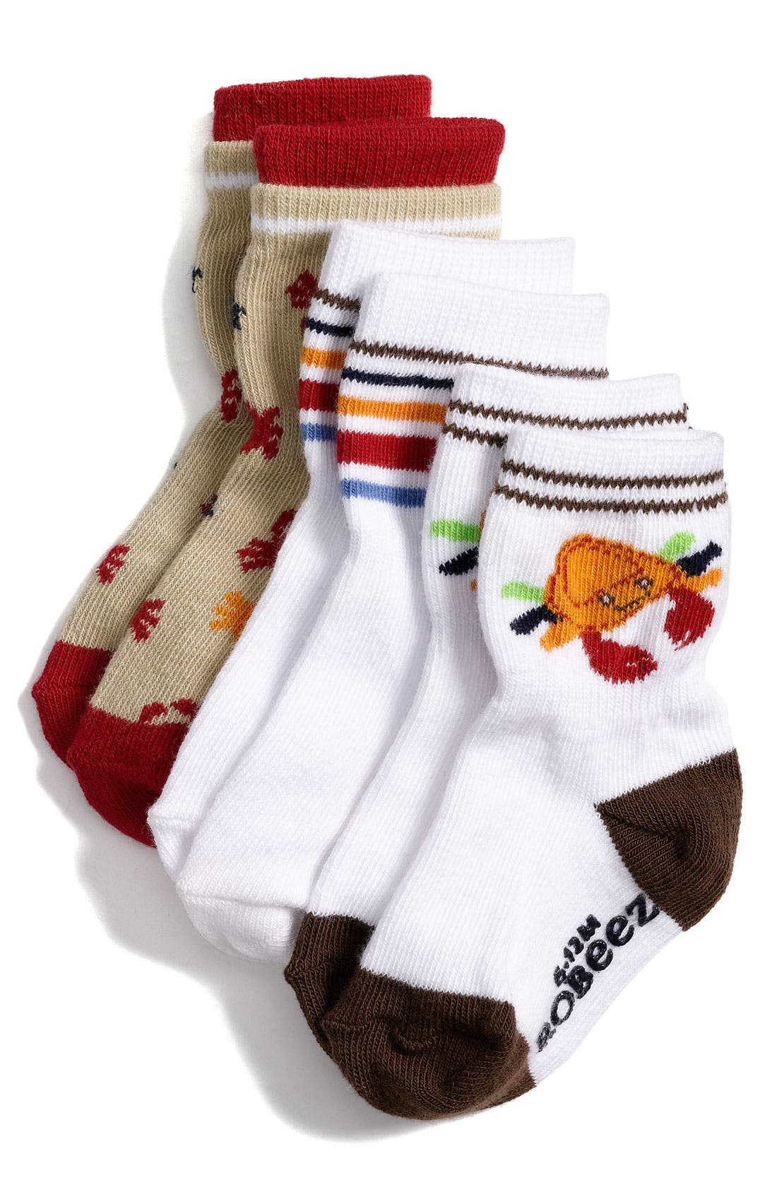 Alternate Image 1 Selected - Robeez® 'Crab' Socks (3-Pack) (Baby)