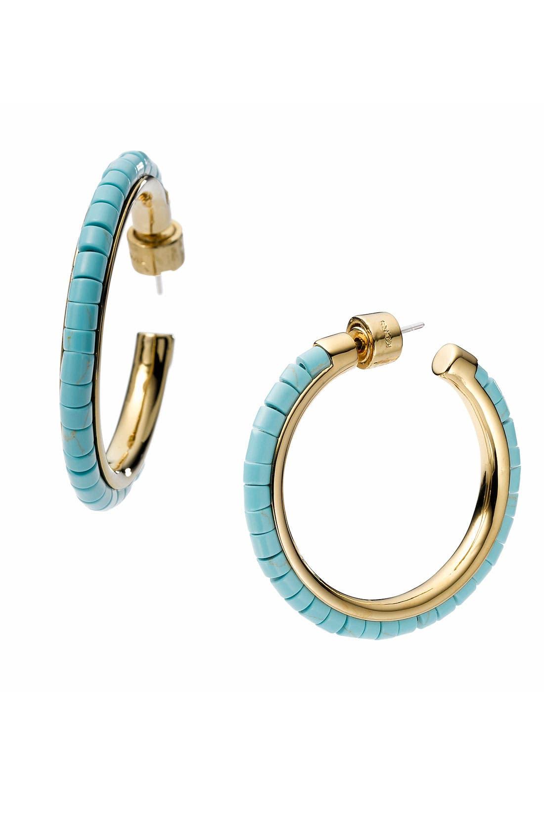 Alternate Image 1 Selected - Michael Kors 'Sleek Exotics' Medium Bead Hoop Earrings
