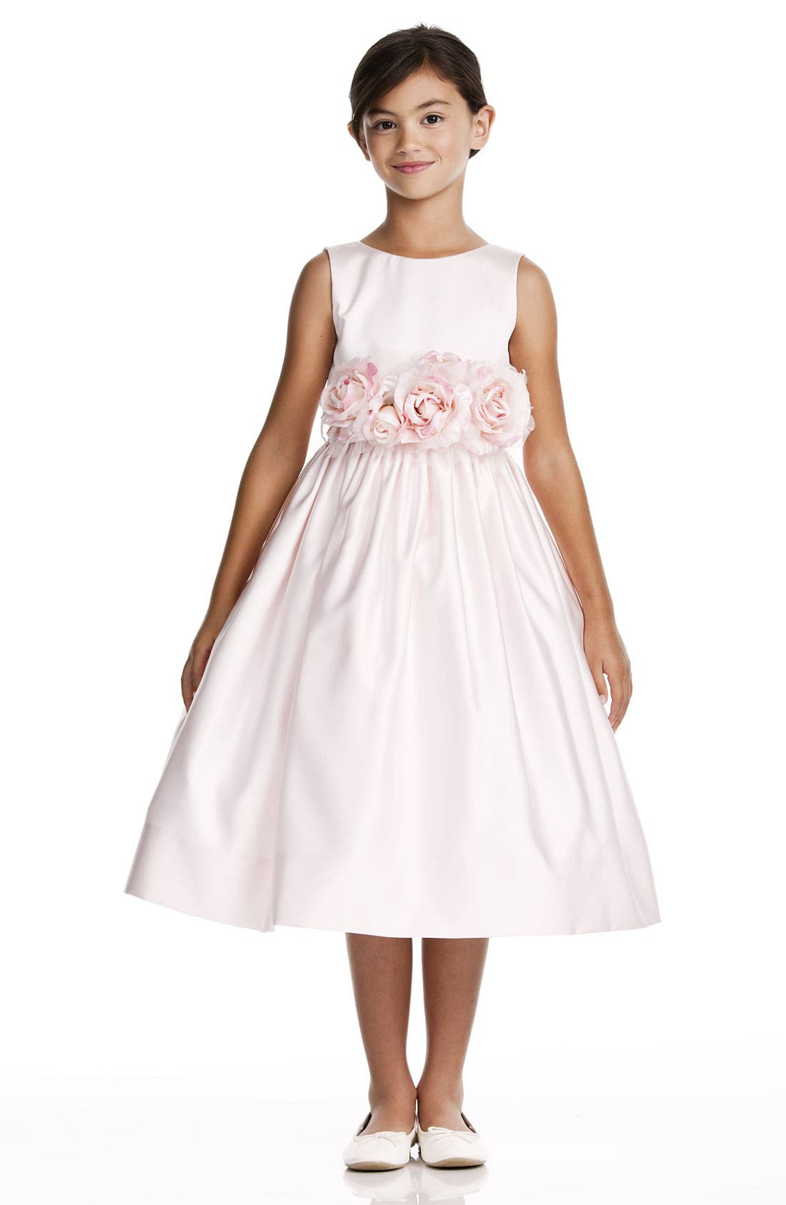 Main Image - Us Angels Flower Sash Sleeveless Dress (Toddler Girls)