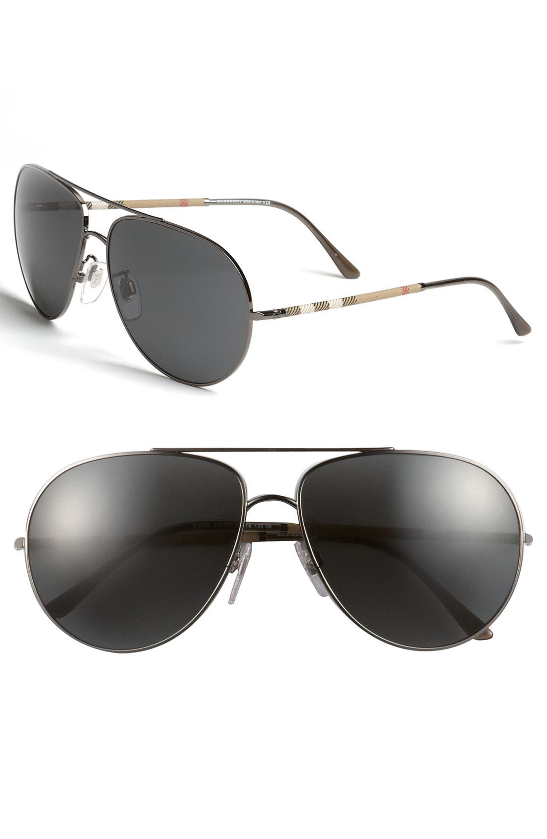 Alternate Image 1 Selected - Burberry Check Temple Aviator Sunglasses