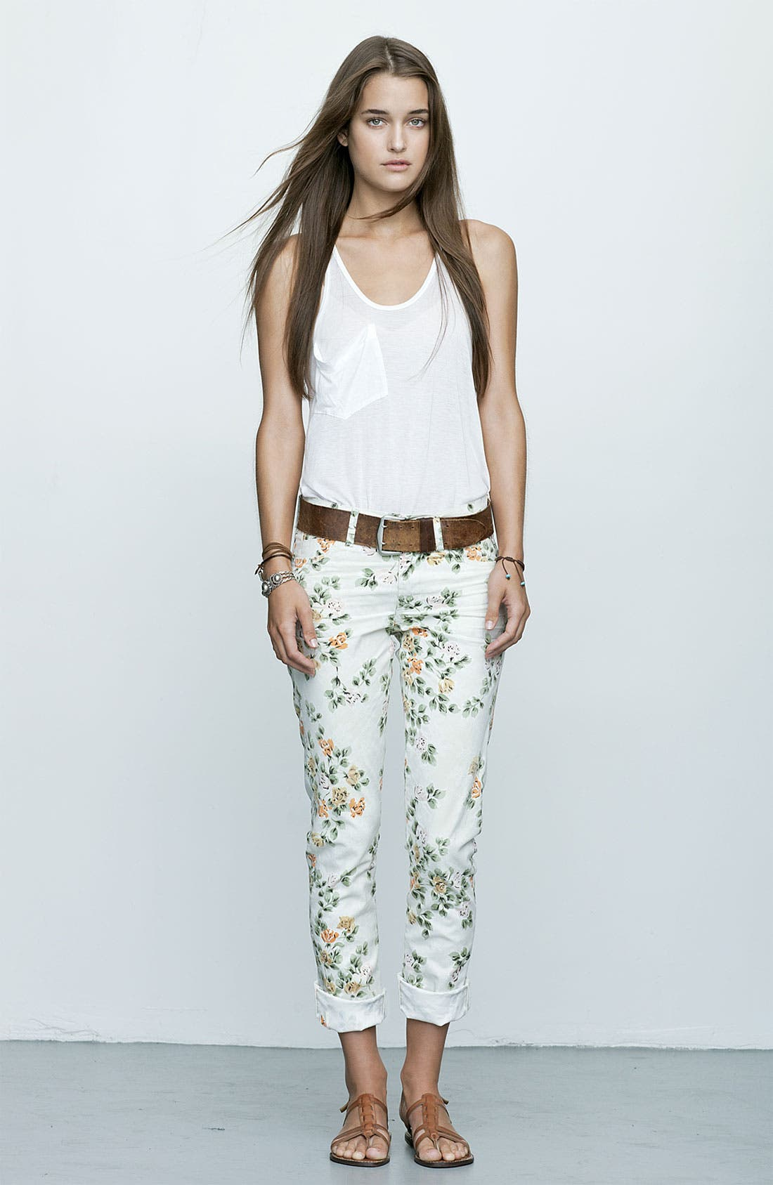 Alternate Image 5  - Citizens of Humanity 'Mandy' High Waist Slim Leg Floral Print Jeans (Natural Petite Rose)