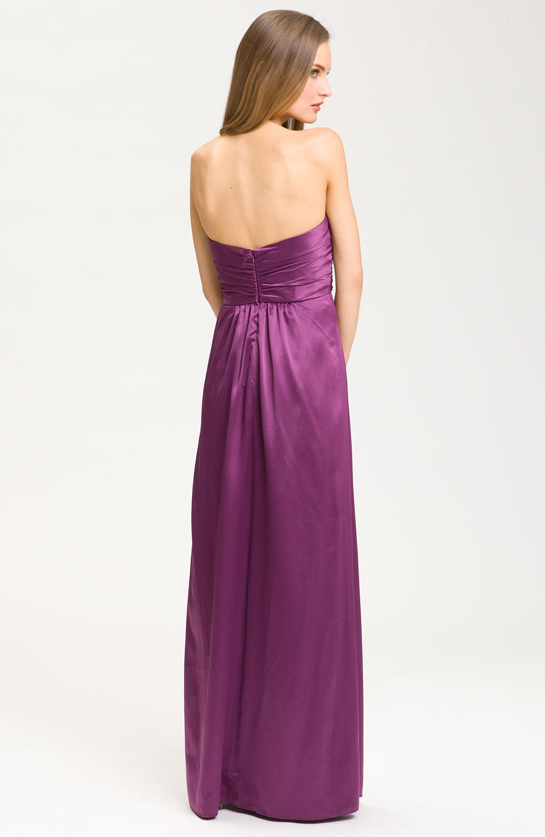 Alternate Image 2  - Amsale Sweetheart Neckline Cross Ruched Satin Gown
