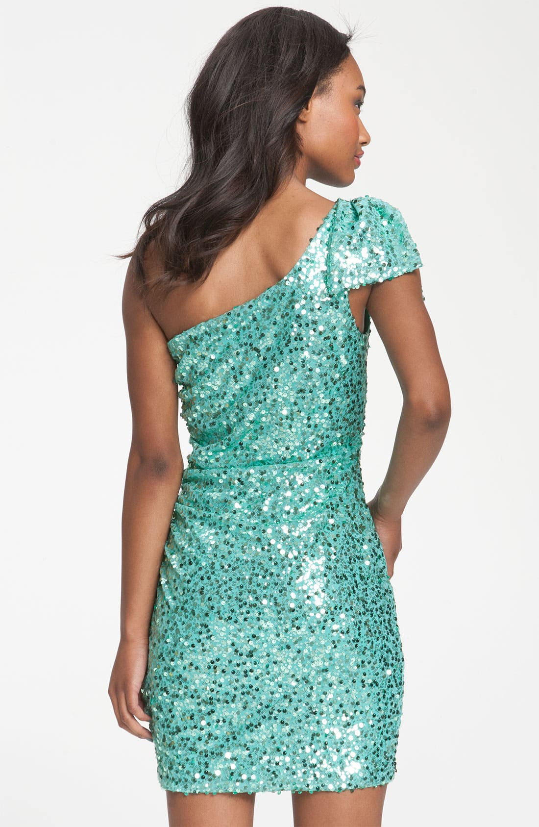 Alternate Image 2  - Way-In Bow Accent One-Shoulder Sequin Dress (Juniors)