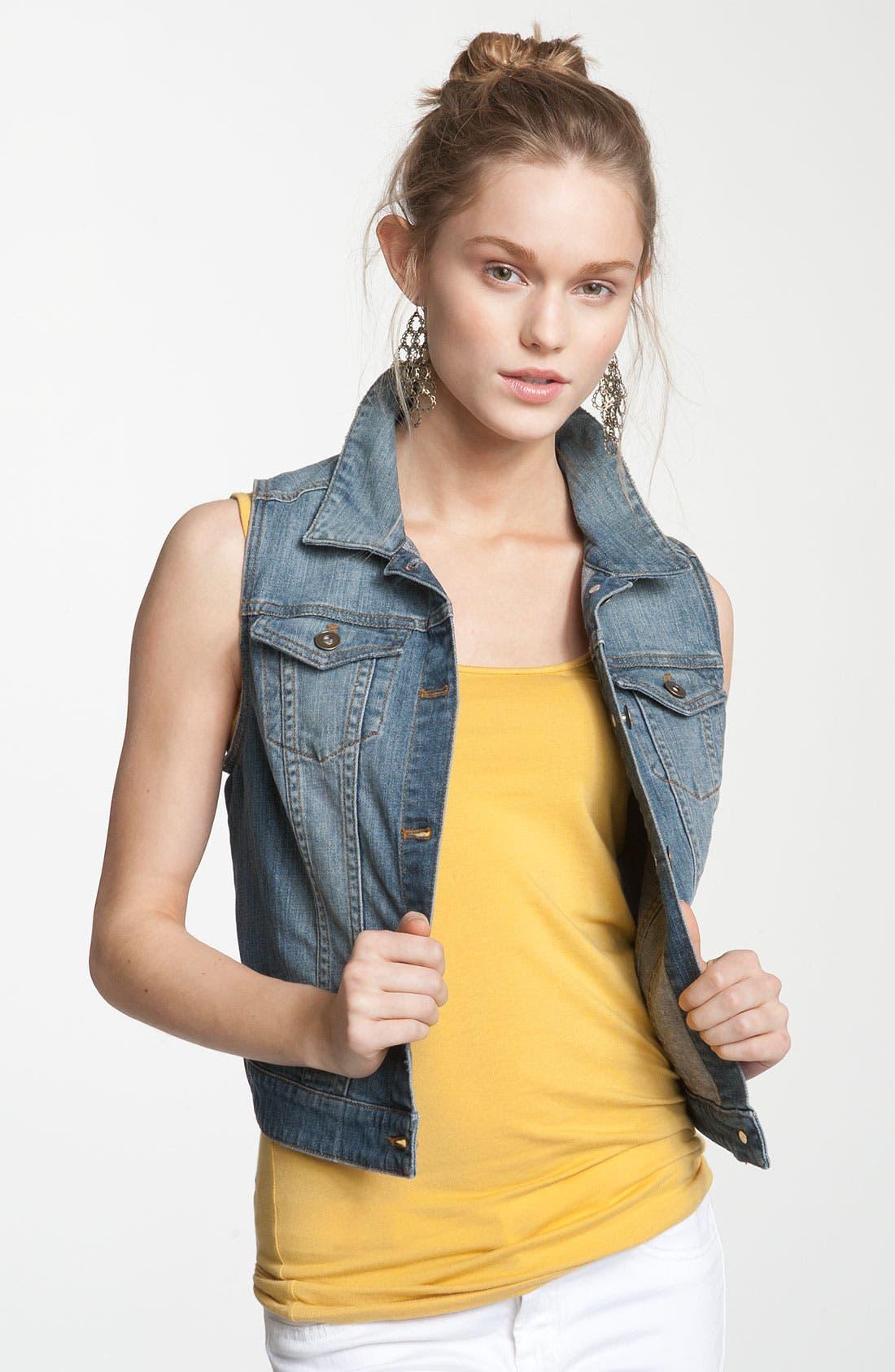 Alternate Image 1 Selected - BP. Sleeveless Denim Vest (Juniors)