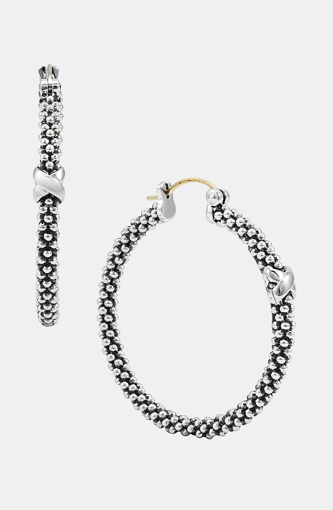 Alternate Image 1 Selected - LAGOS 'X' Small Caviar Hoop Earrings