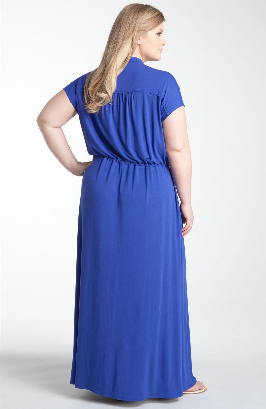 Alternate Image 2  - Sejour Split Neck Knit Maxi Dress (Plus)