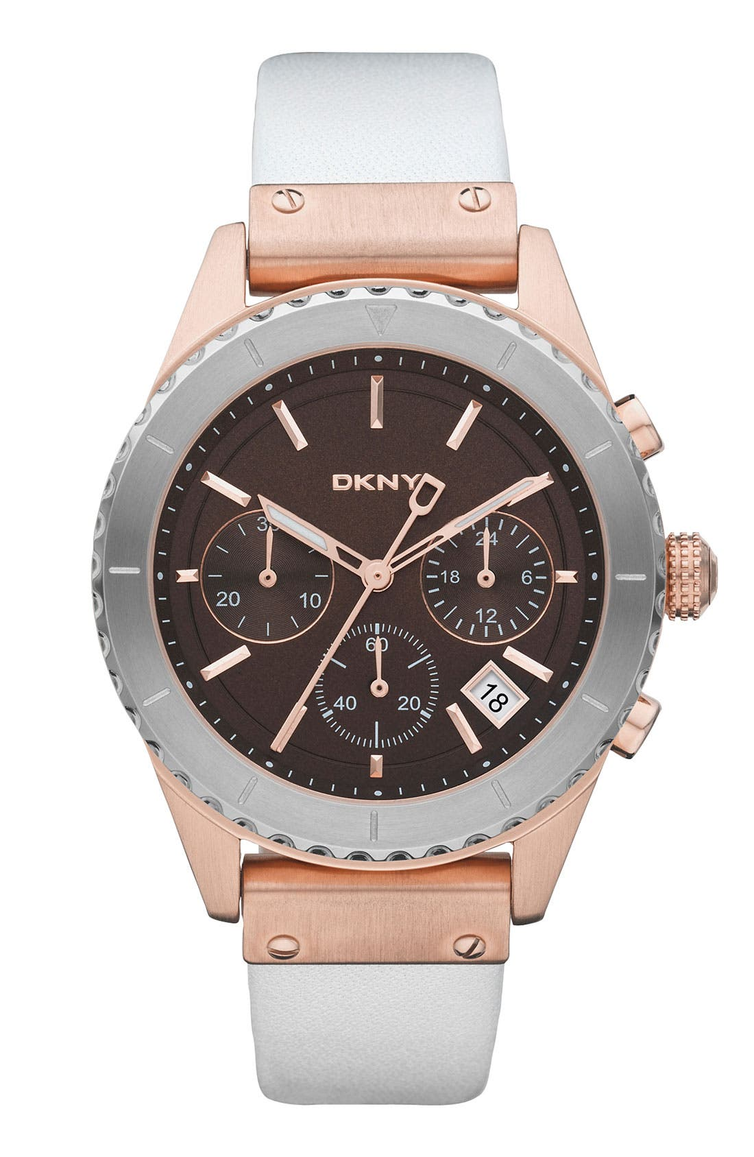 Alternate Image 1 Selected - DKNY 'Street Smart' Chronograph Leather Strap Watch