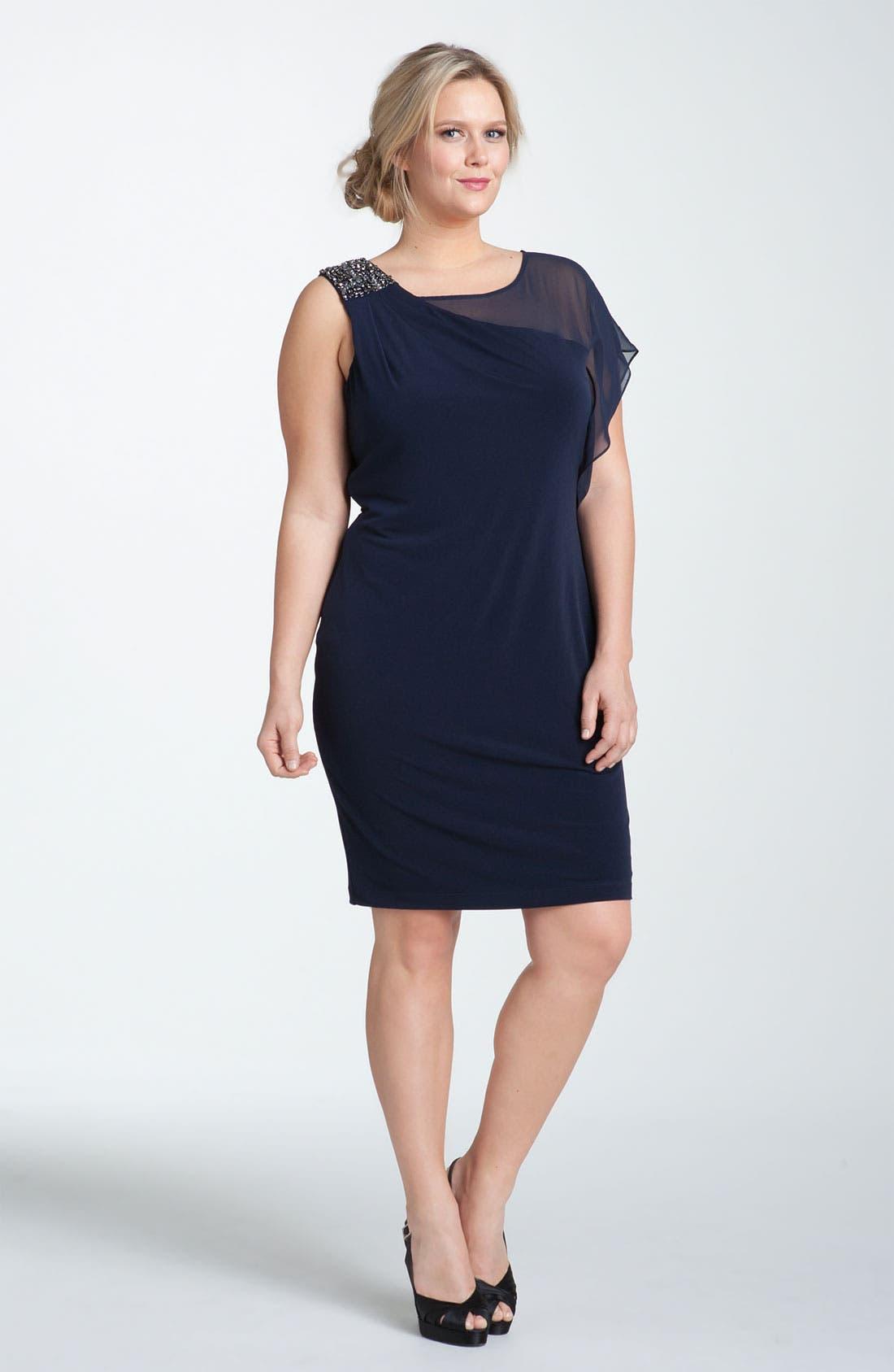 Main Image - Calvin Klein Embellished Matte Jersey & Chiffon Dress (Plus Size)