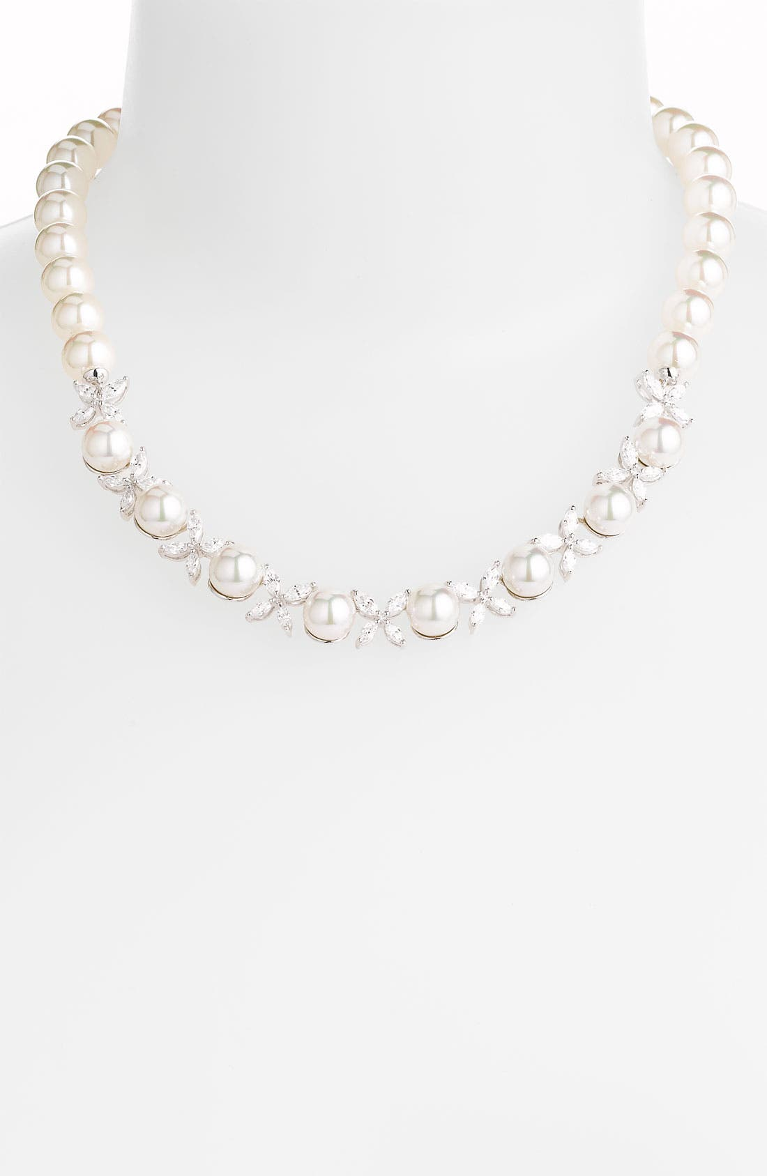 Main Image - Majorica 'Butterfly' Cubic Zirconia & Pearl Necklace