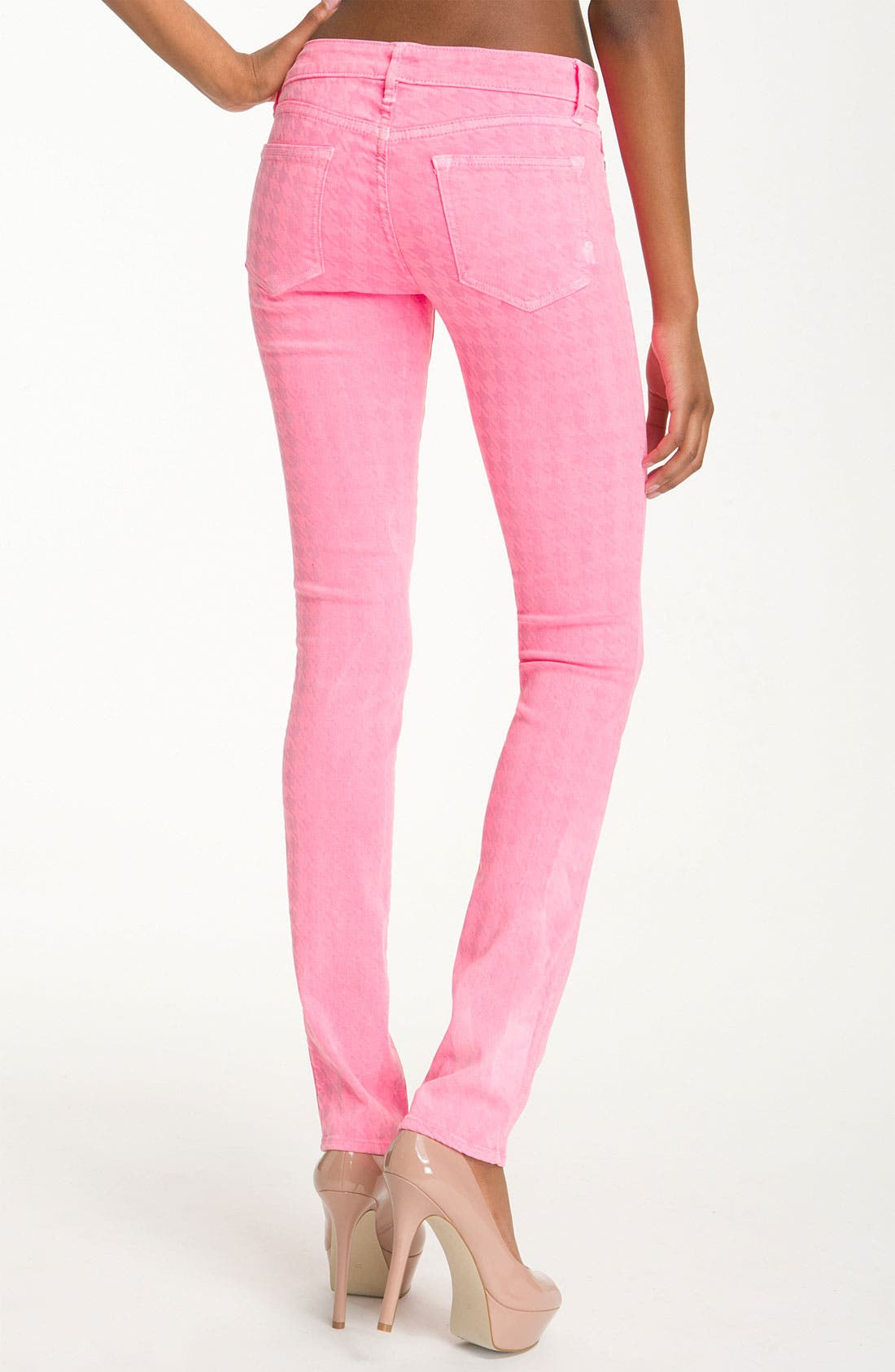 Alternate Image 2  - Rich & Skinny 'Legacy' Houndstooth Print Skinny Jeans (Neon Pink)