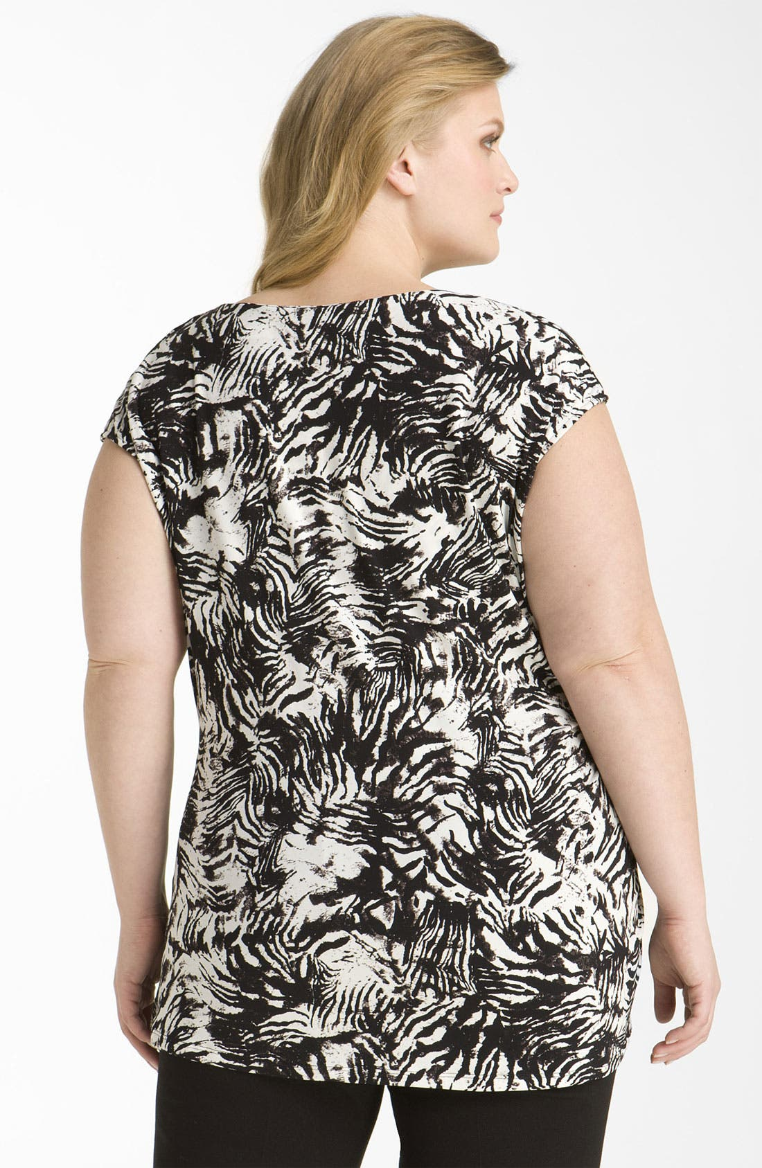 Alternate Image 2  - Vince Camuto 'Zebra Skin' Cap Sleeve Top (Plus)
