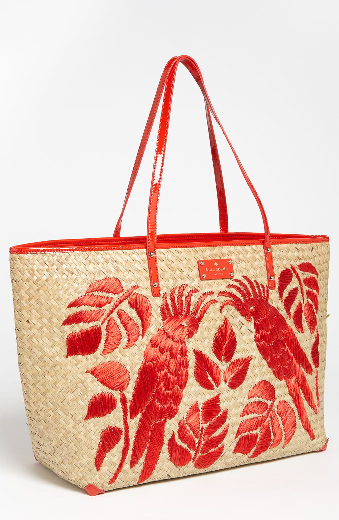 Main Image - kate spade new york 'harmony' embroidered straw tote