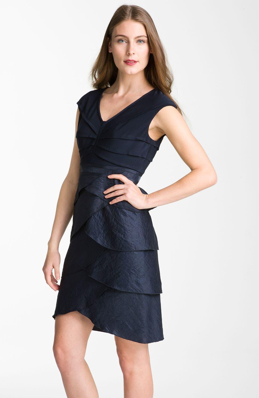 Main Image - Adrianna Papell Pleated Mixed Media Sheath Dress