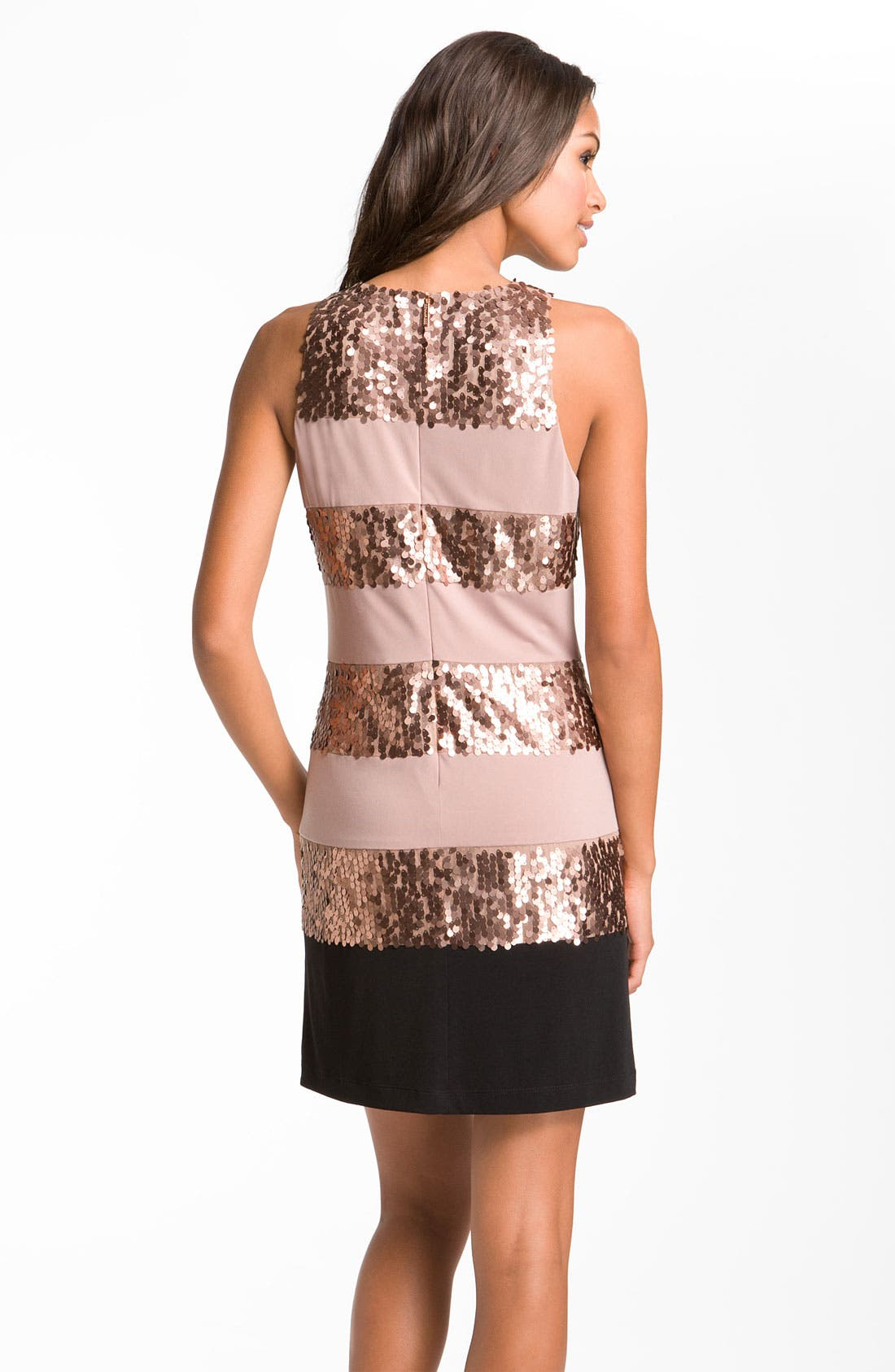 Alternate Image 2  - Donna Ricco Sleeveless Stripe & Sequin Dress