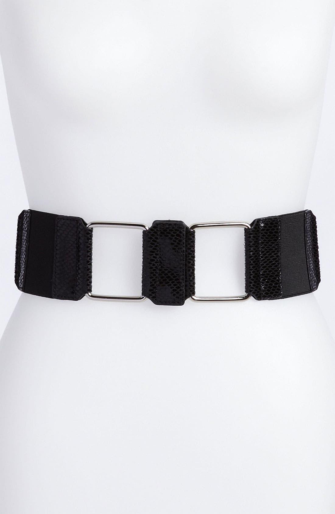 Main Image - Via Spiga Metallic Python Print Stretch Belt