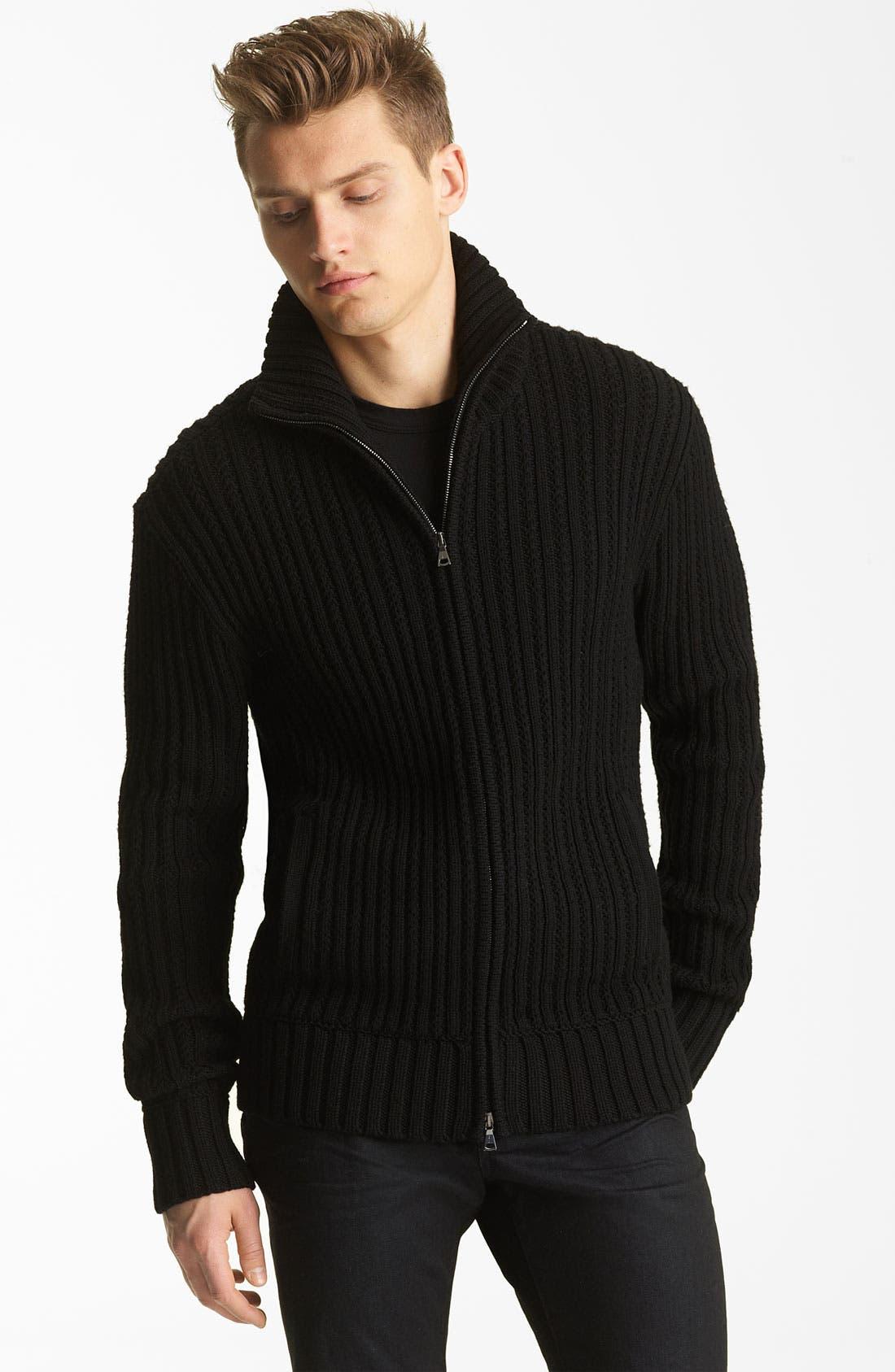 Main Image - John Varvatos Collection Zip Knit Sweater