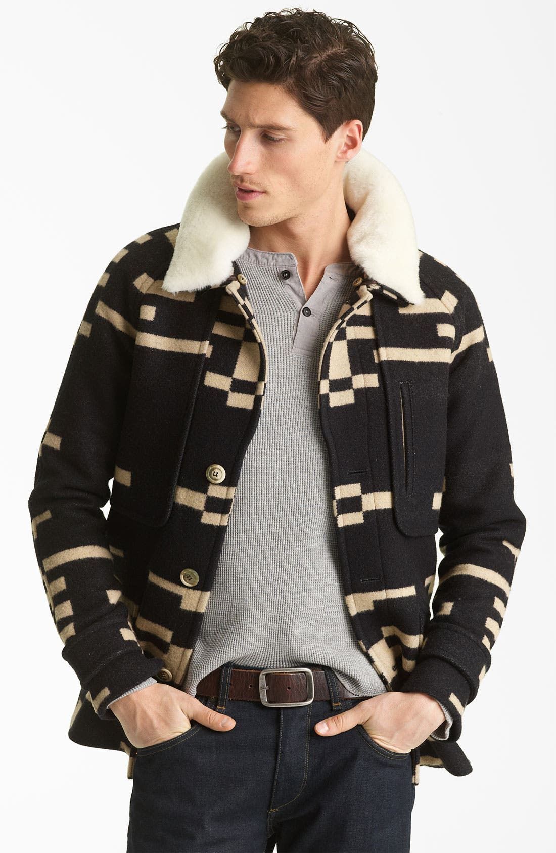 Main Image - Pendleton Portland Collection 'Archive' Virgin Wool Coat with Genuine Shearling Collar
