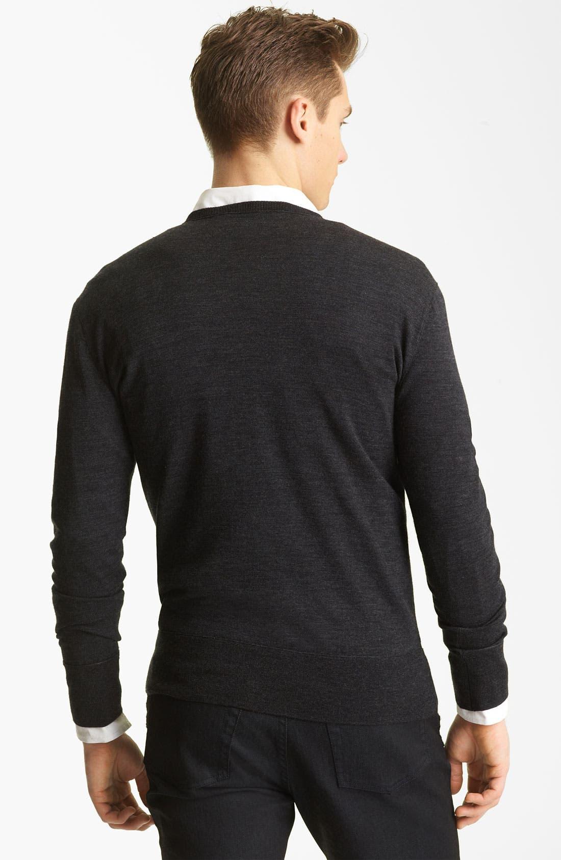 Alternate Image 2  - John Varvatos Collection V-Neck Wool Knit Sweater