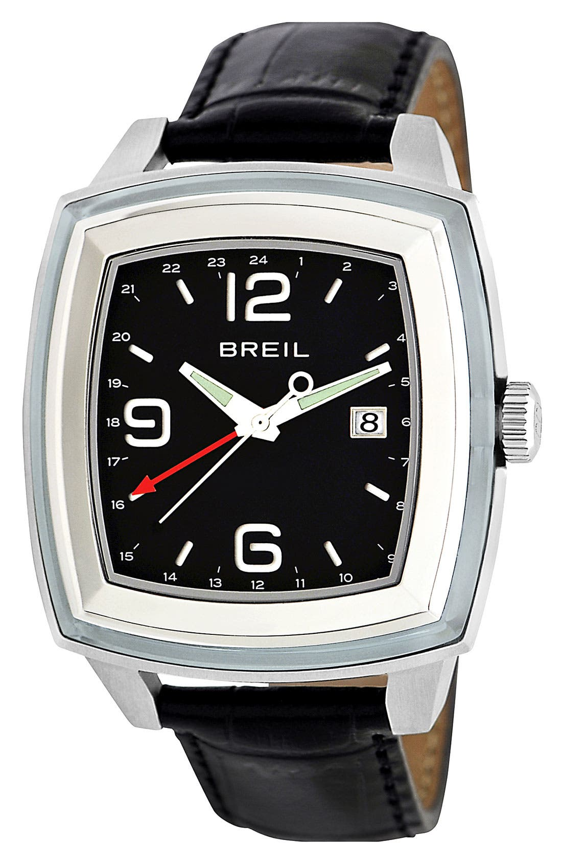 Main Image - Breil 'Orchestra' Large Square Dual Time Watch, 42mm x 52mm