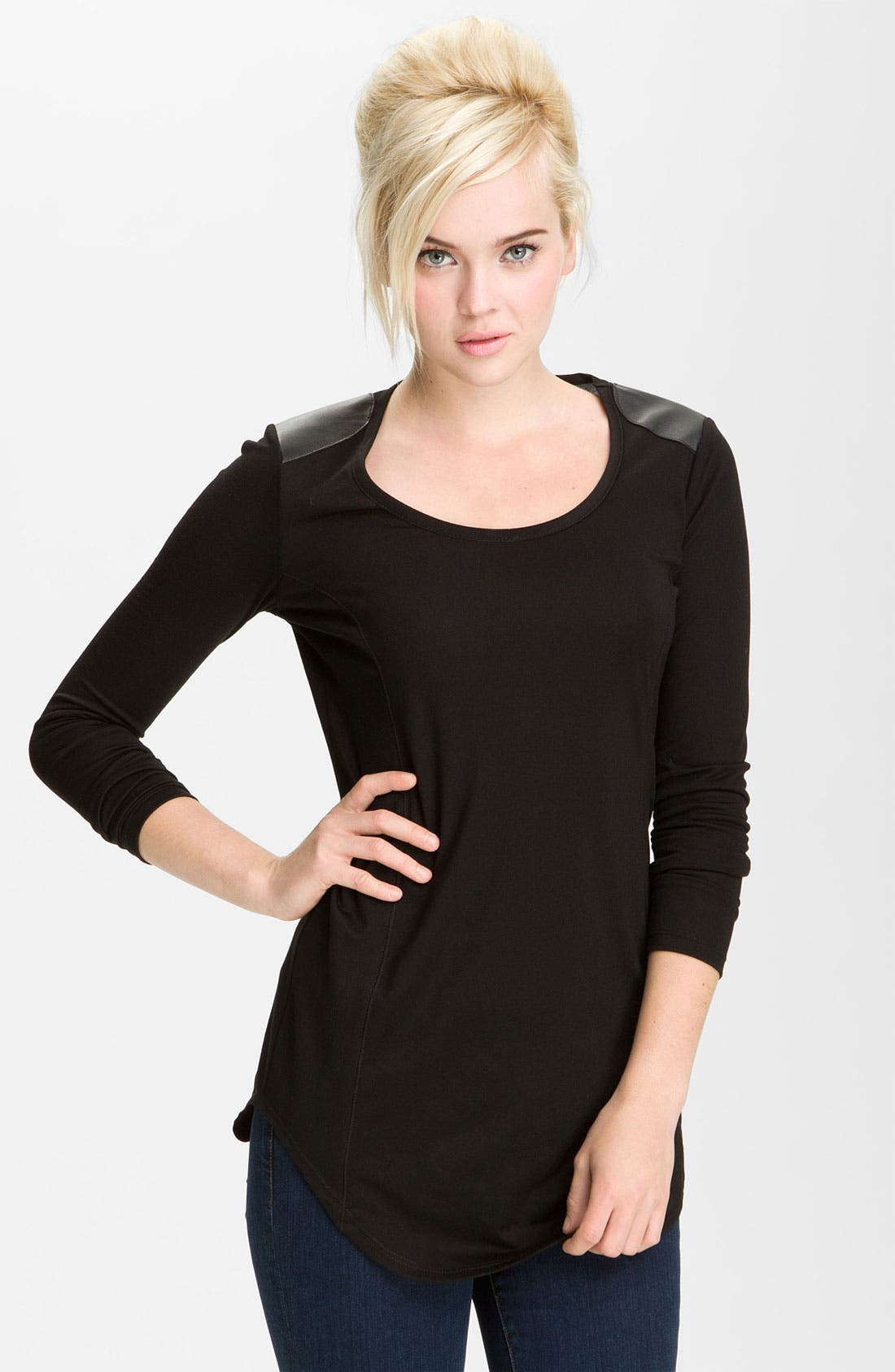 Alternate Image 1 Selected - Twenty Leather Panel Long Sleeve Tee