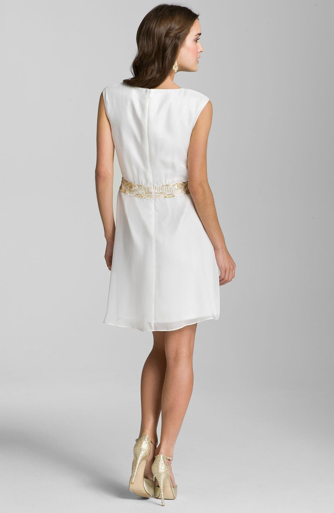 Alternate Image 2  - Calvin Klein Pleat Front Chiffon Dress