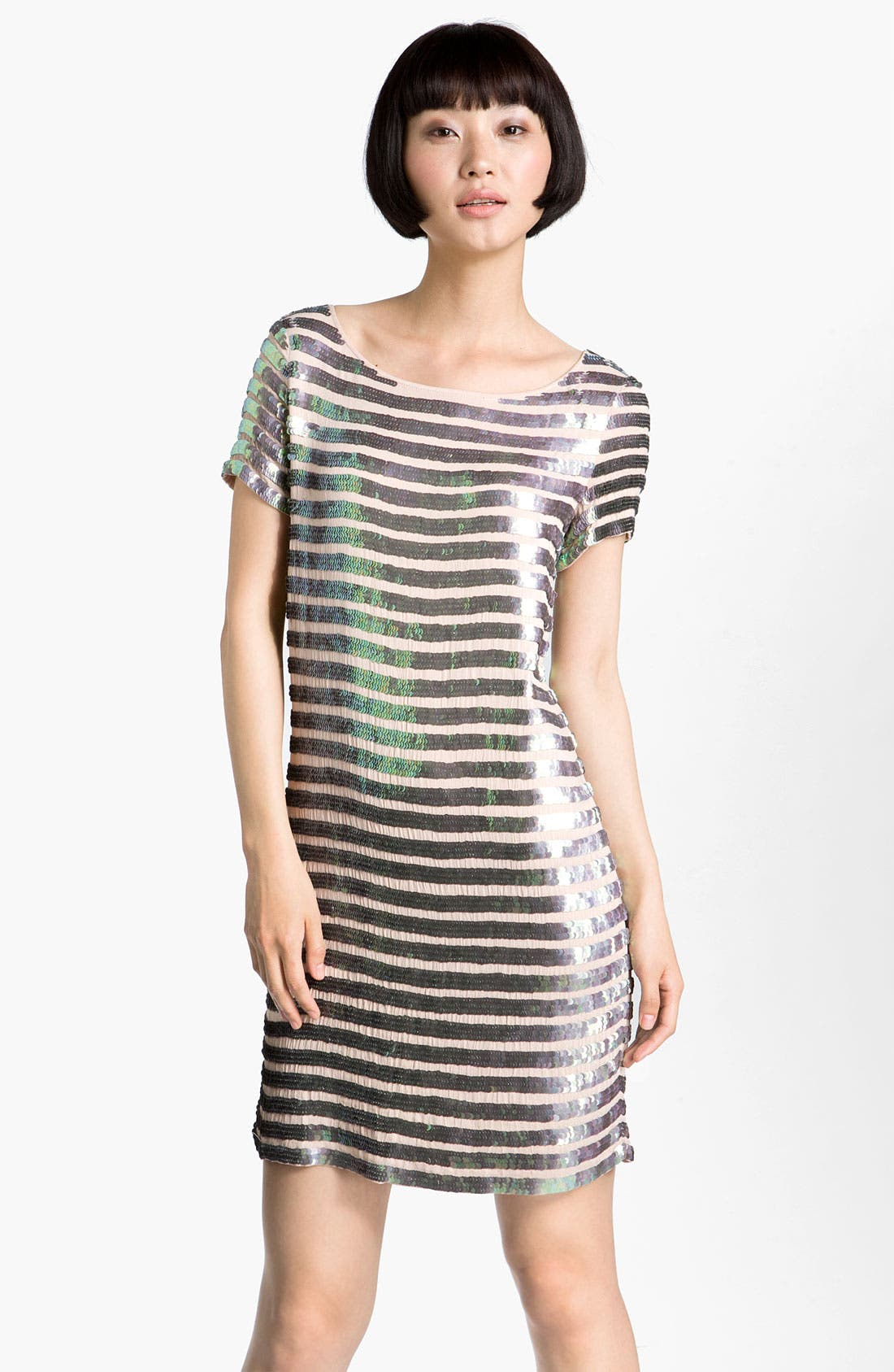 'Fast Eden' Sequin Gauze Shift Dress,                         Main,                         color, Cupid