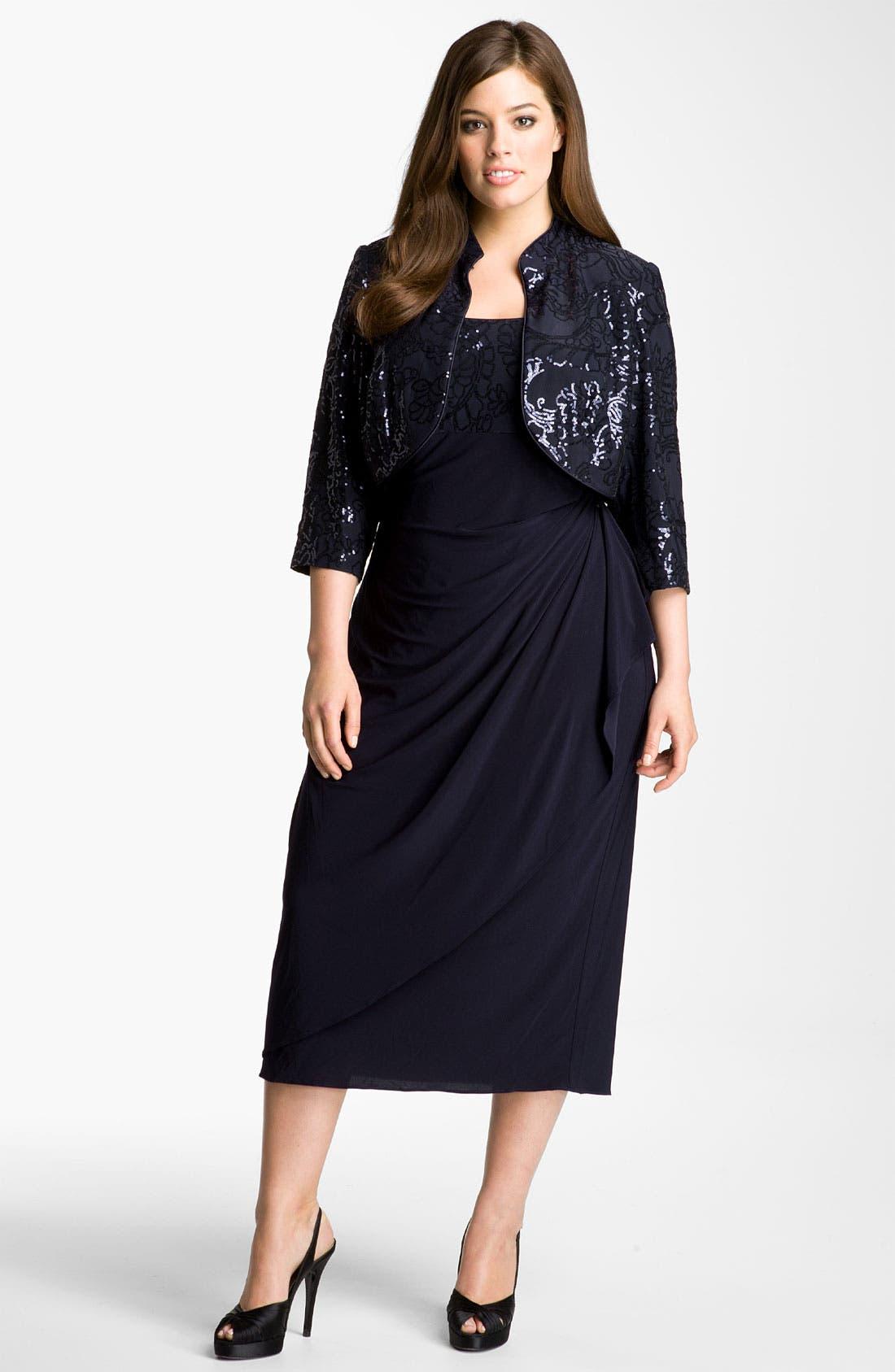 Main Image - Alex Evenings Gathered Dress & Jacket (Plus Size)