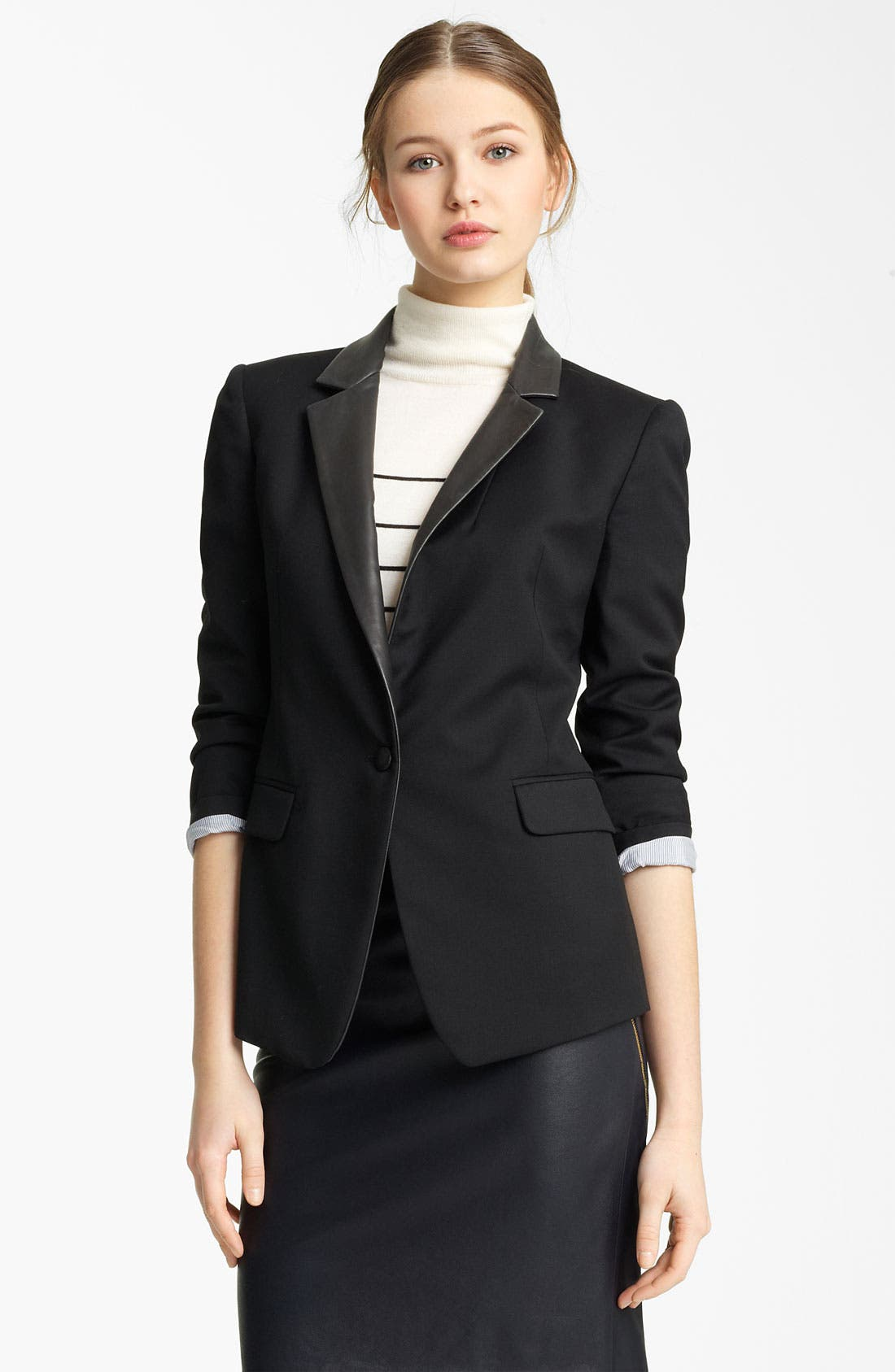 Alternate Image 1 Selected - Band of Outsiders Leather Trim Blazer