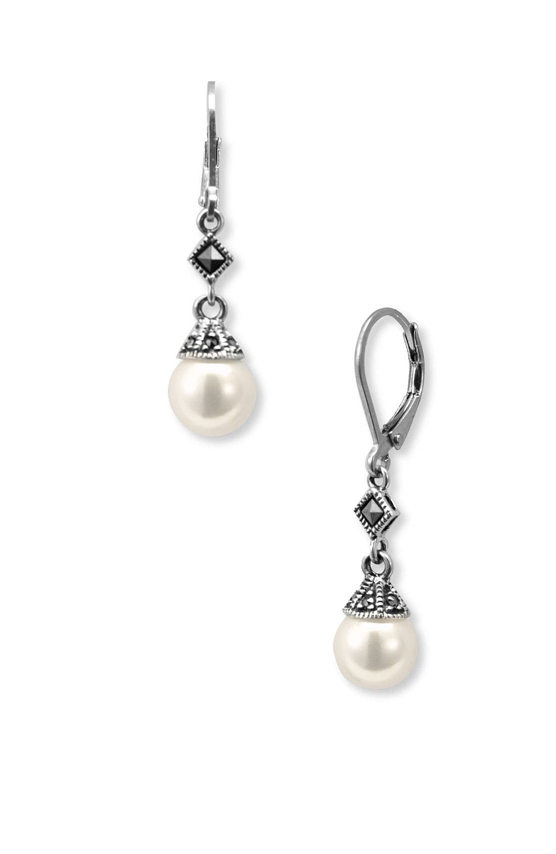 Imitation Pearl Drop Earrings,                             Main thumbnail 1, color,                             Pearl