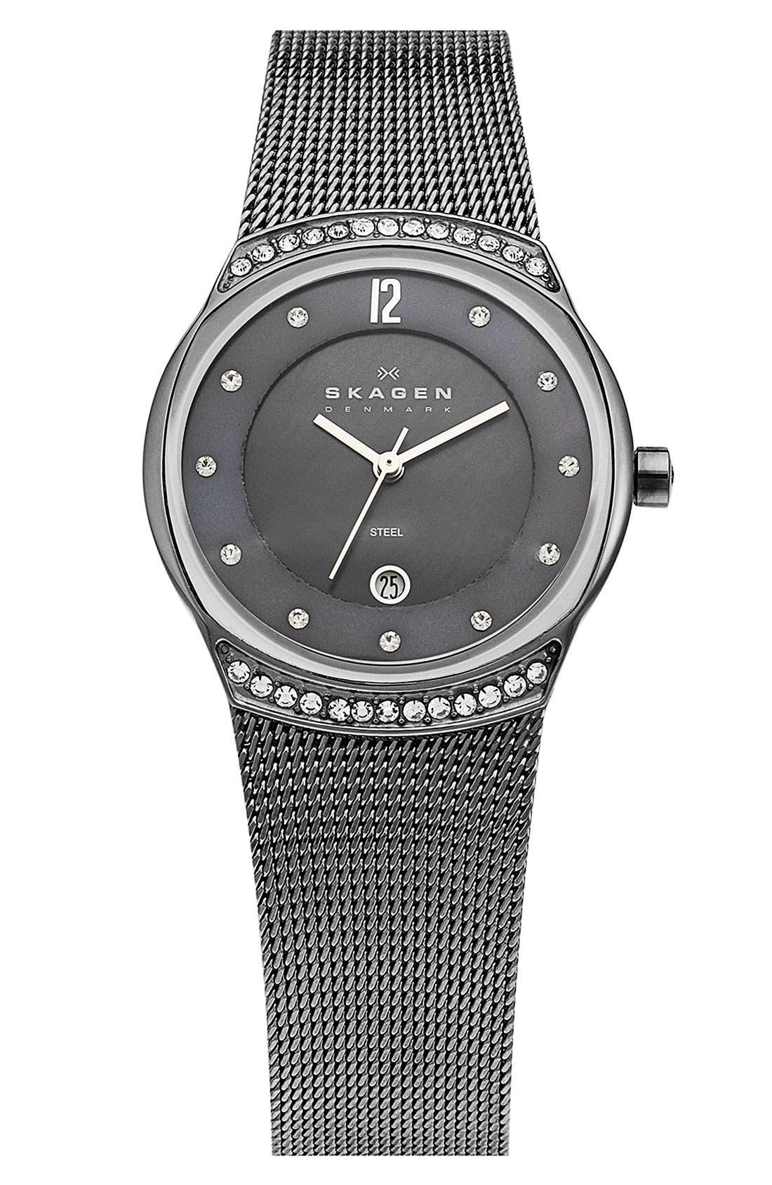 Alternate Image 1 Selected - Skagen Round Mesh Bracelet Watch