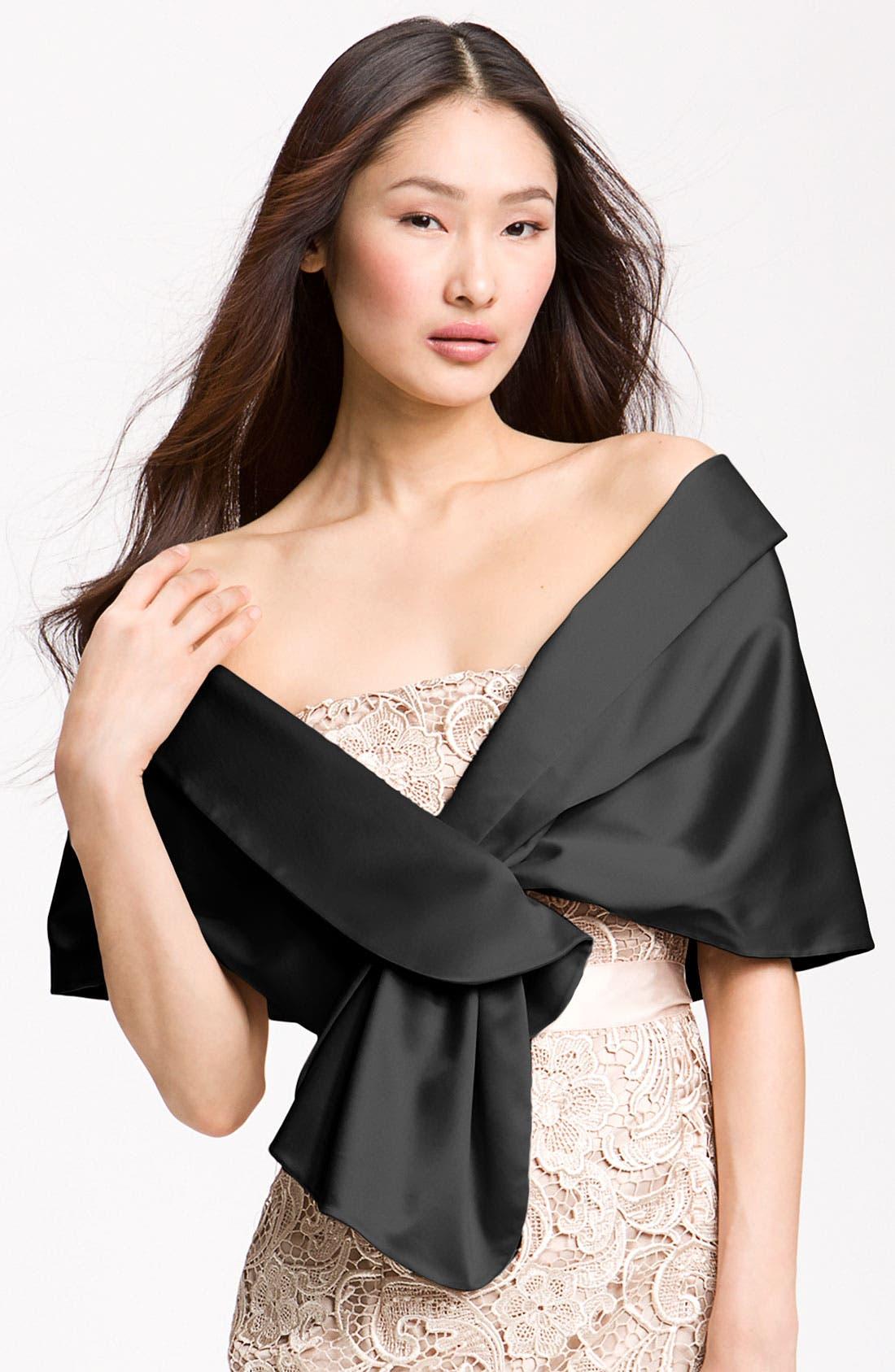 Satin Wrap,                         Main,                         color, Black