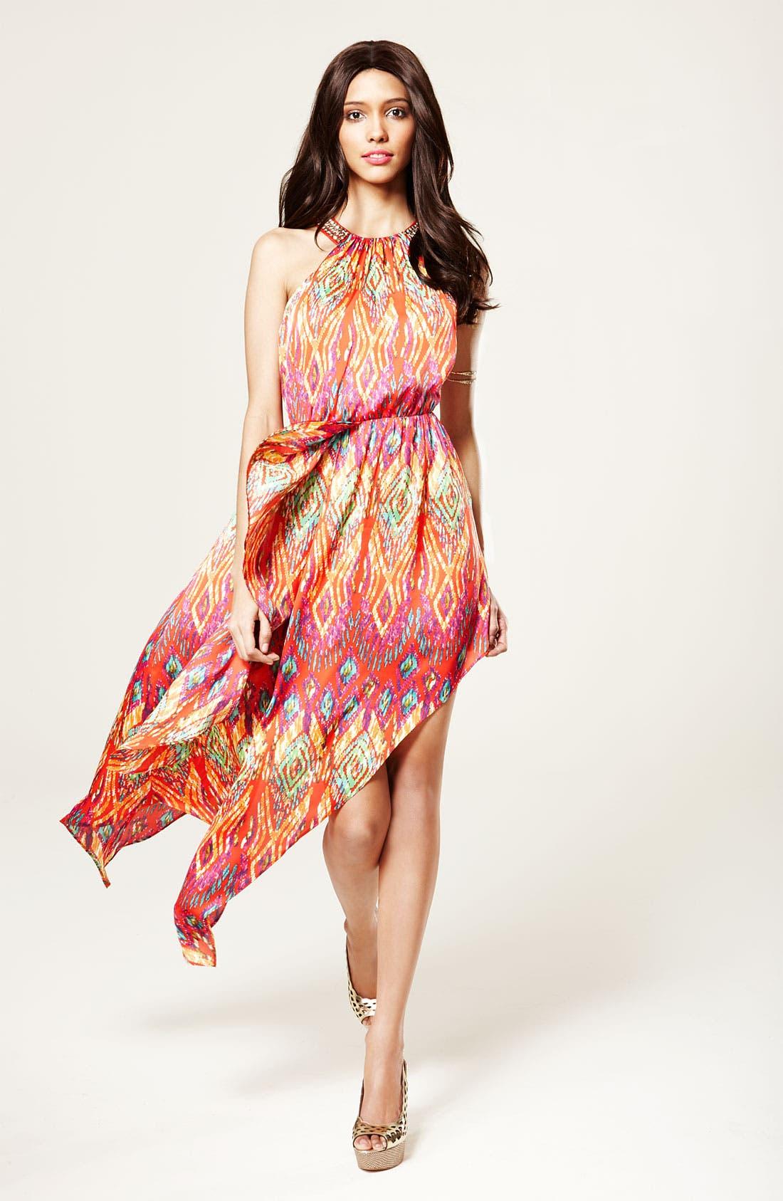 Alternate Image 4  - Laundry by Shelli Segal Asymmetrical Satin Halter Dress