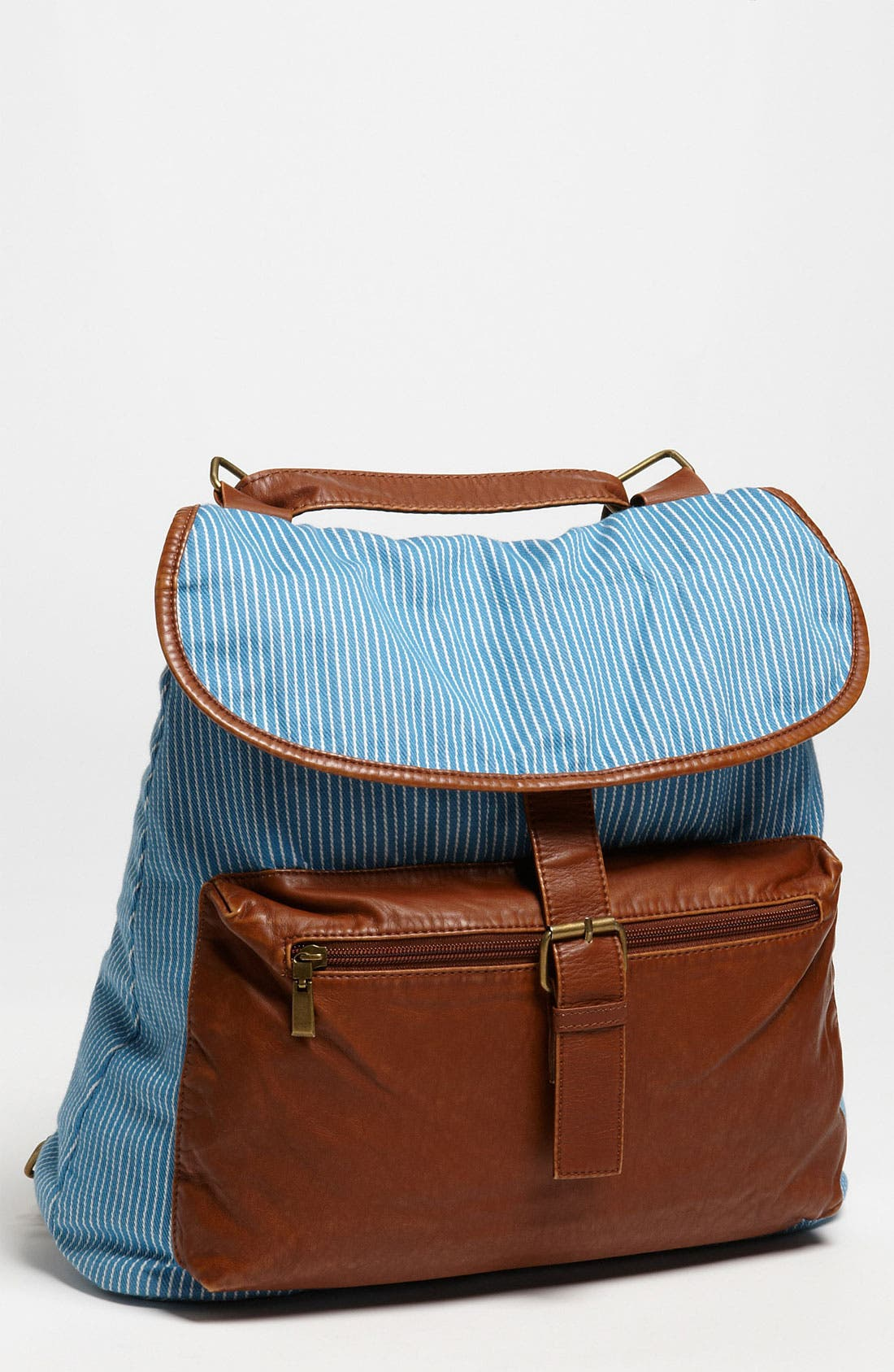 Main Image - BP. Stripe Chambray & Faux Leather Backpack