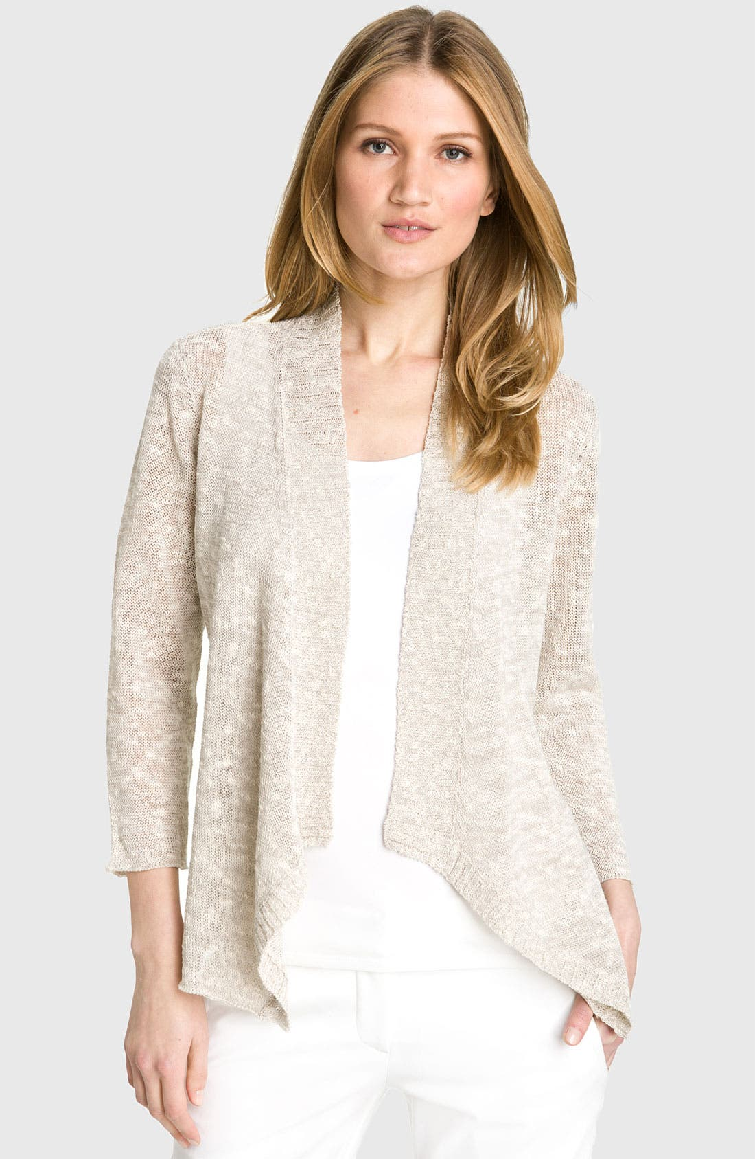 Main Image - Eileen Fisher Angled  Mélange Knit Cardigan