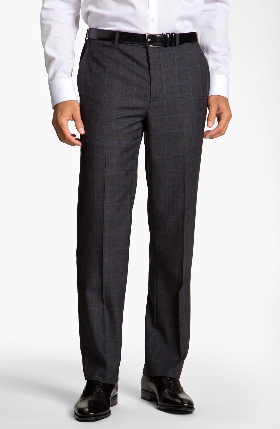 Main Image - Calibrate Flat Front Plaid Wool Pants