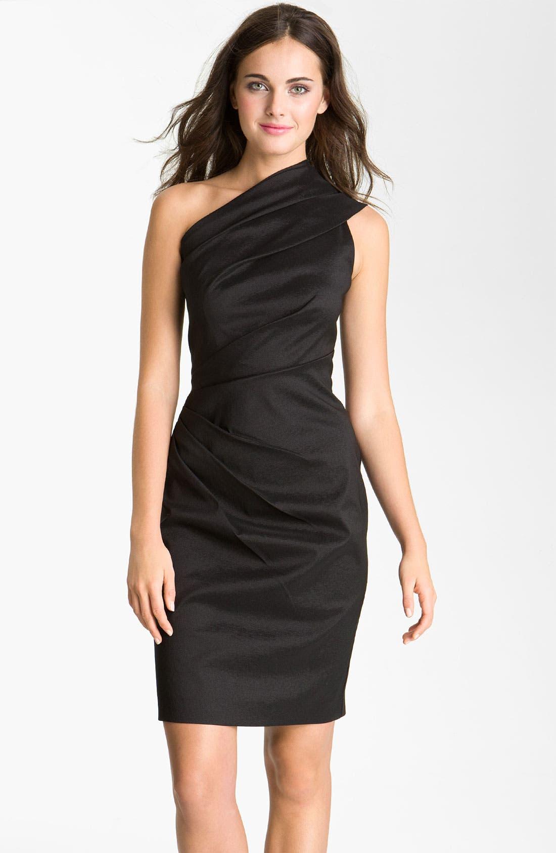 Alternate Image 1 Selected - Eliza J One Shoulder Ruched Taffeta Sheath Dress