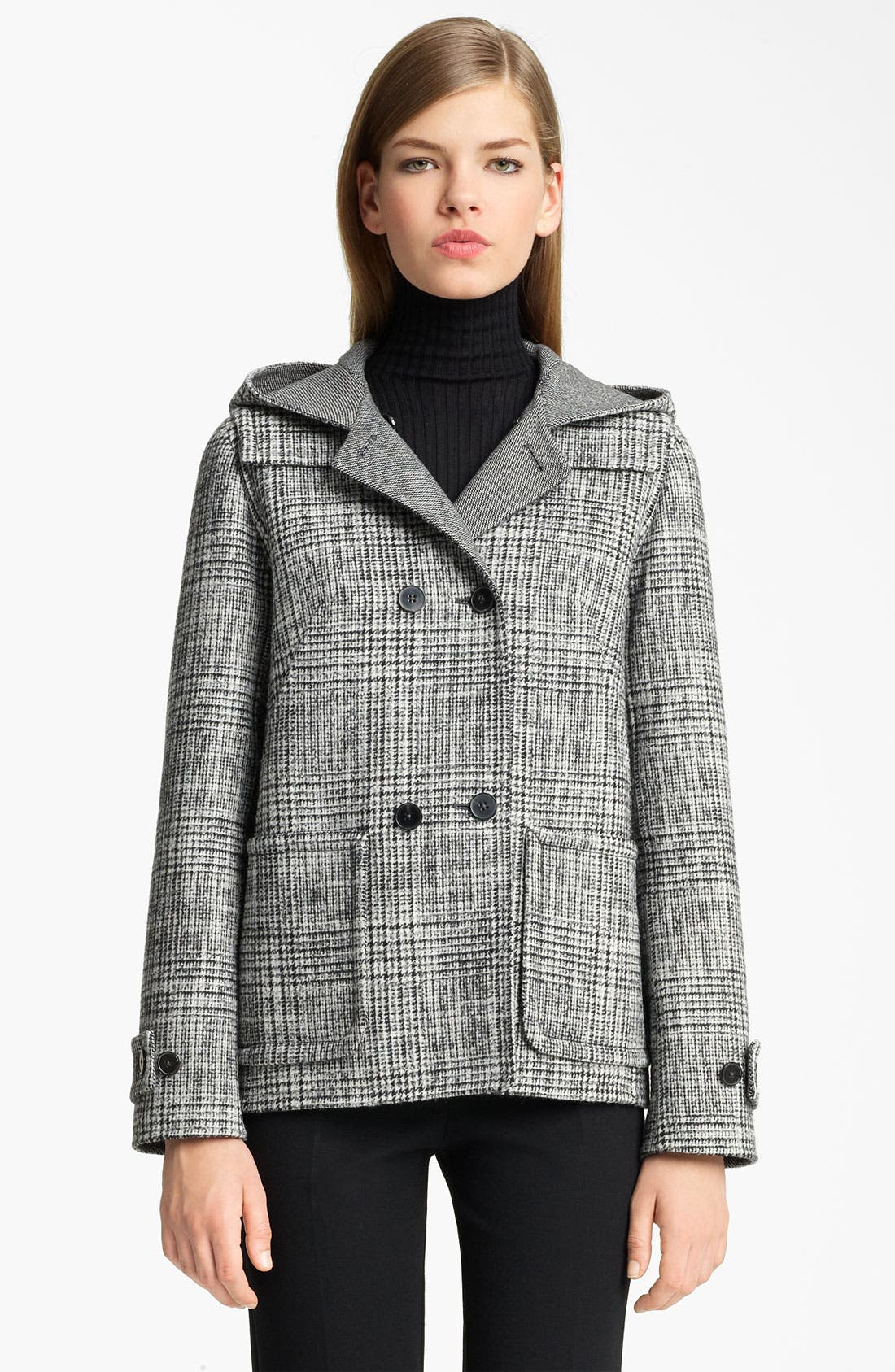 Alternate Image 1 Selected - Jil Sander Hooded Wool Blend Coat
