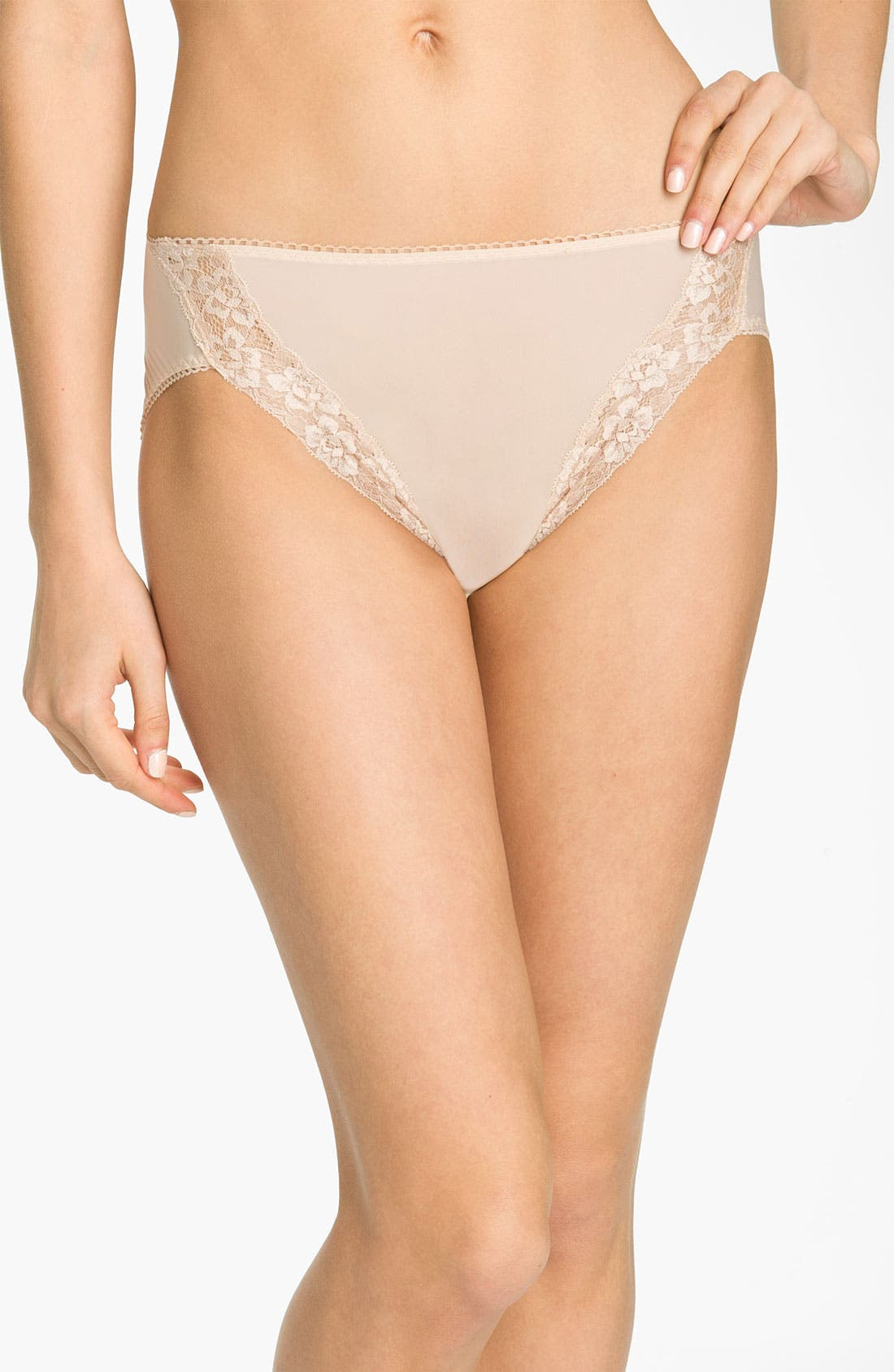 'Bodysuede' Lace Trim High Cut Briefs,                         Main,                         color, Natural Nude