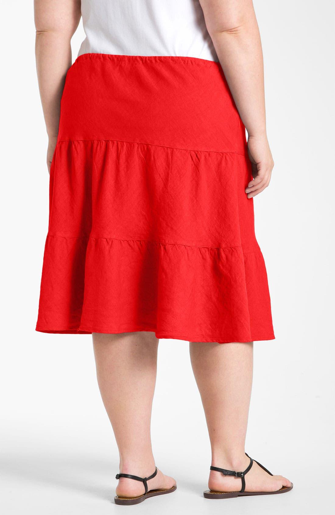 Alternate Image 2  - Allen Allen Tiered Linen Skirt (Plus)