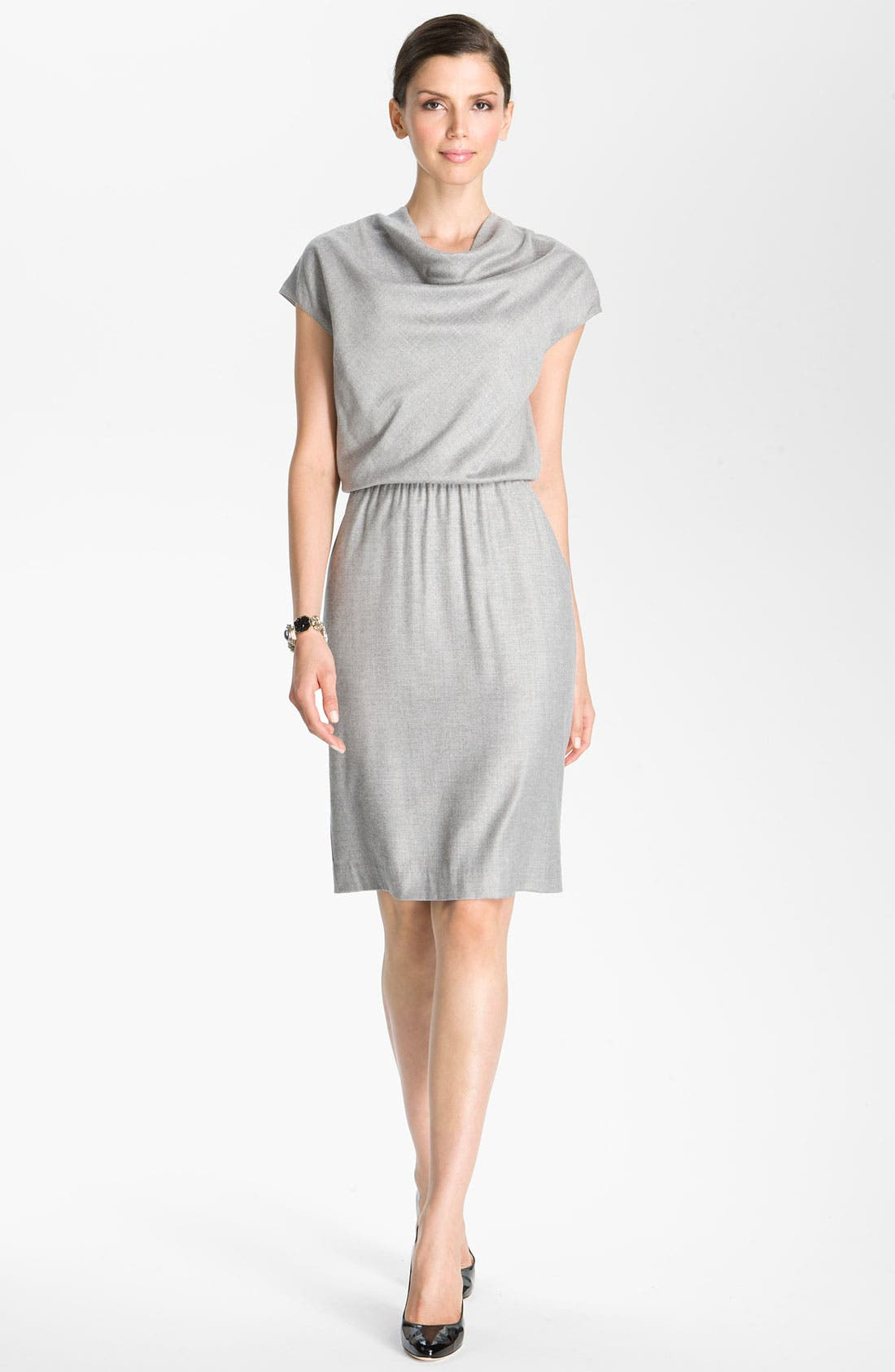 Main Image - St. John Collection Blouson Waist Flannel Dress