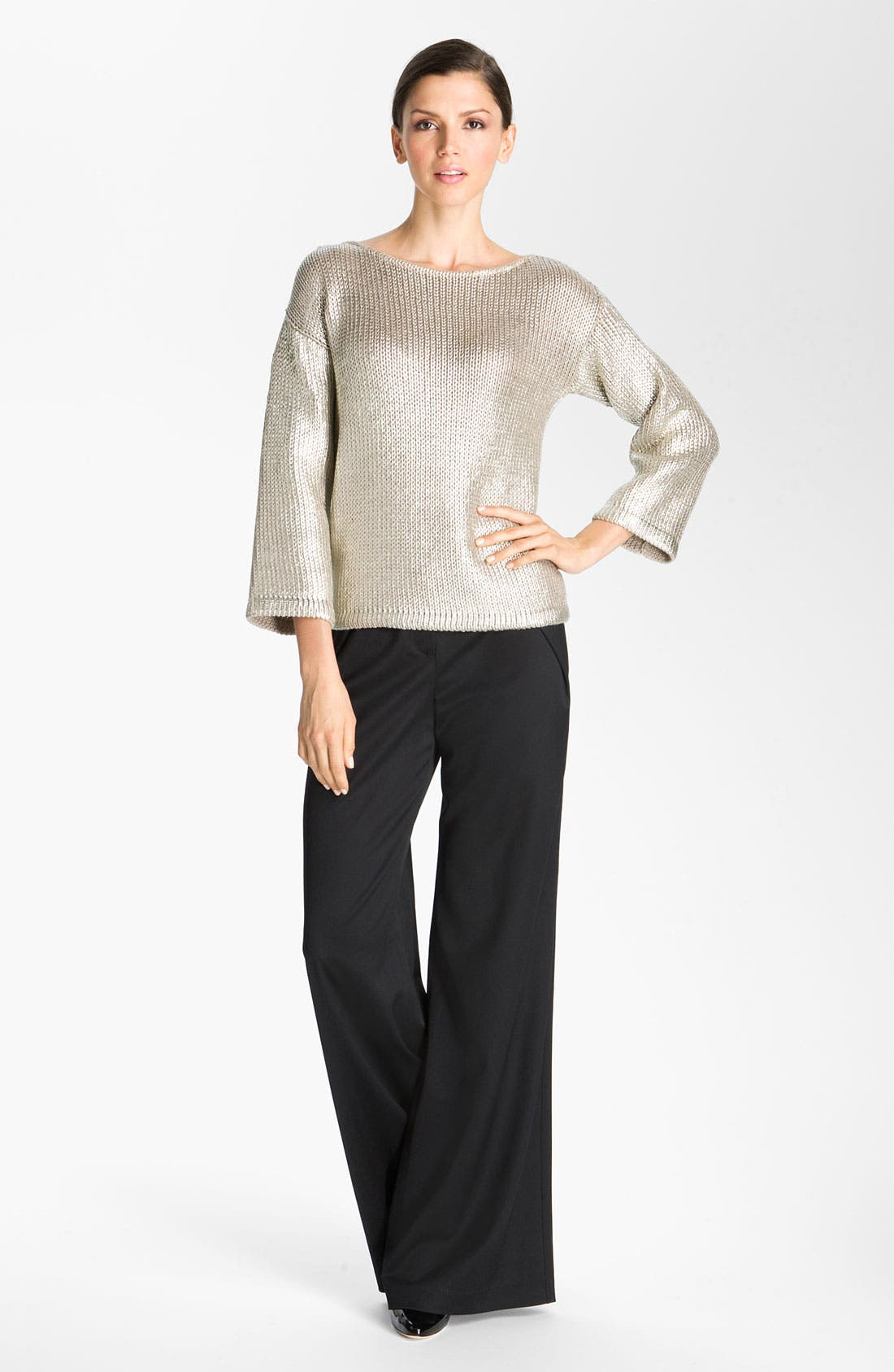 Alternate Image 1 Selected - St. John Collection Inverted Fold Wide Leg Pants