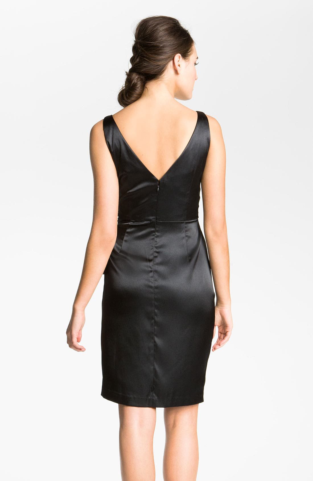 Alternate Image 2  - Maggy London Side Bow Stretch Satin Sheath Dress