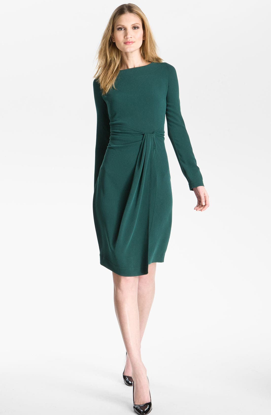 Alternate Image 1 Selected - St. John Collection 'Luxe Crepe' Faux Wrap Dress